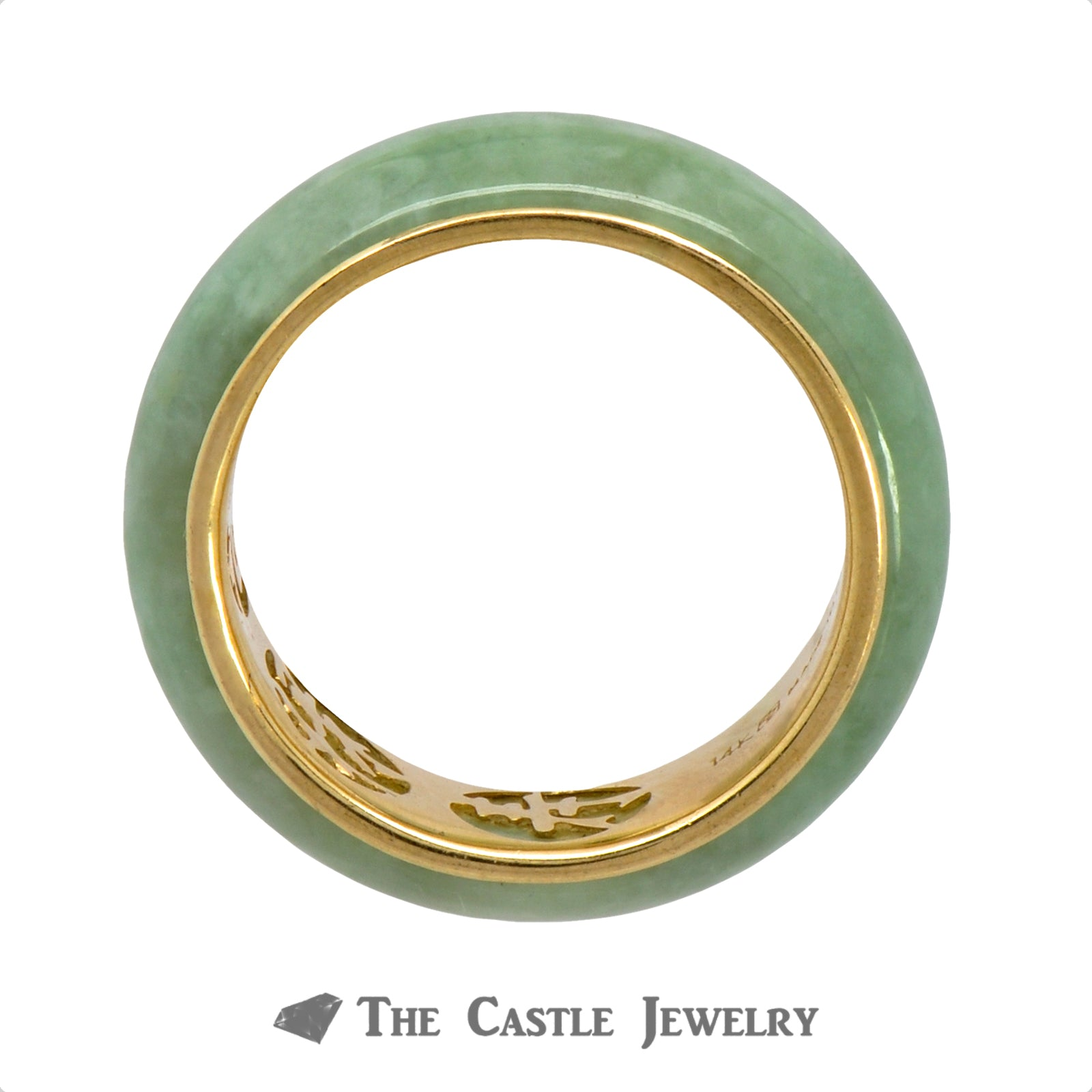 7mm Jade Band with Oriental Symbols in 14k Yellow Gold-1