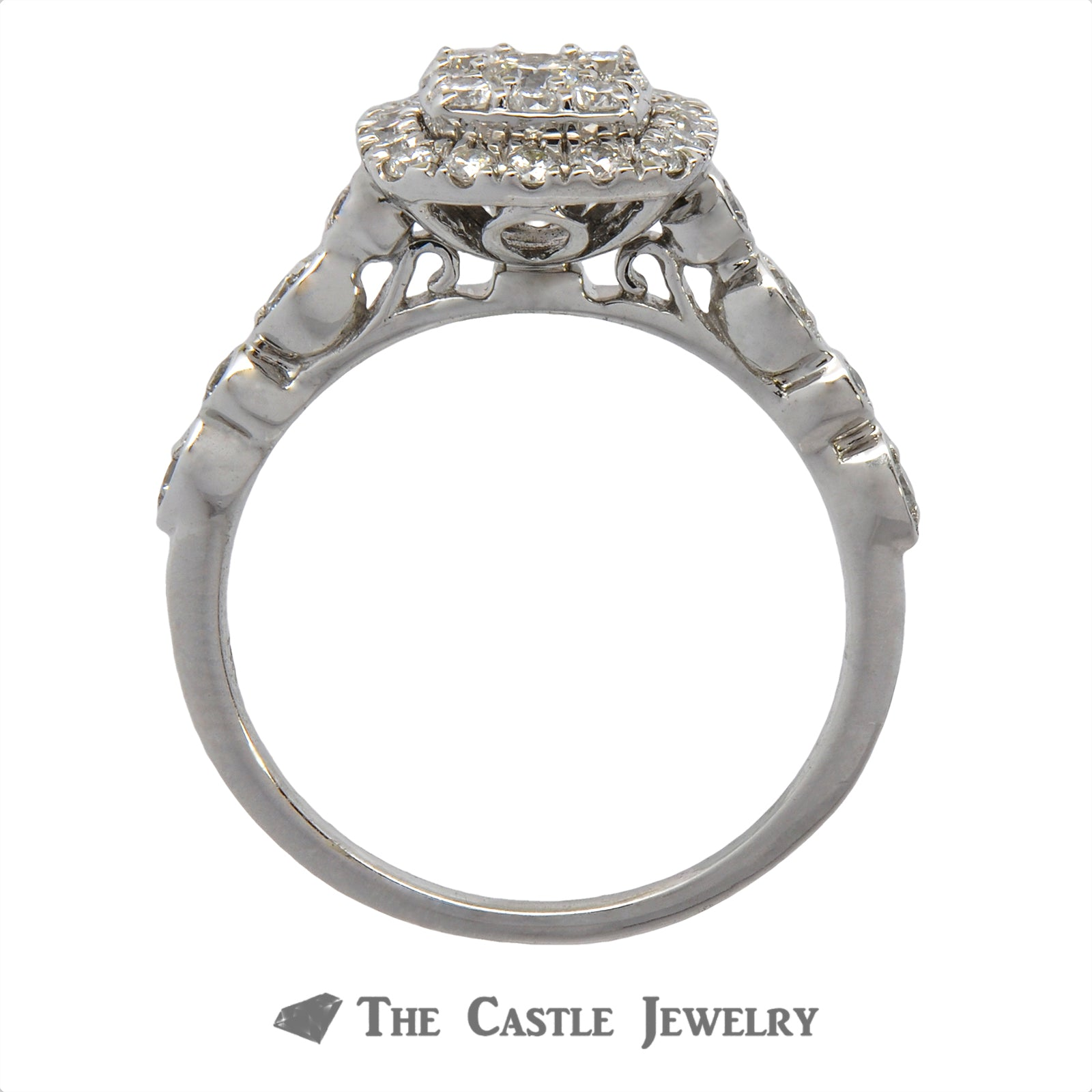 Crown Collection .50cttw Cushion Cut Shaped Diamond Halo & Cluster Engagement Ring-1