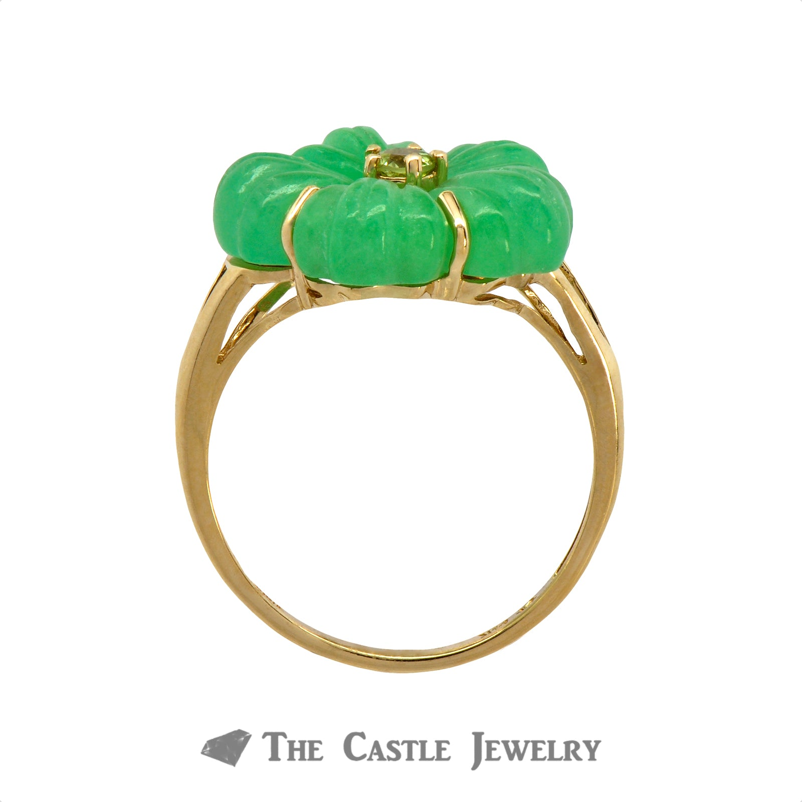 Unique Jade Flower Ring with Peridot Center in 14K Yellow Gold-1