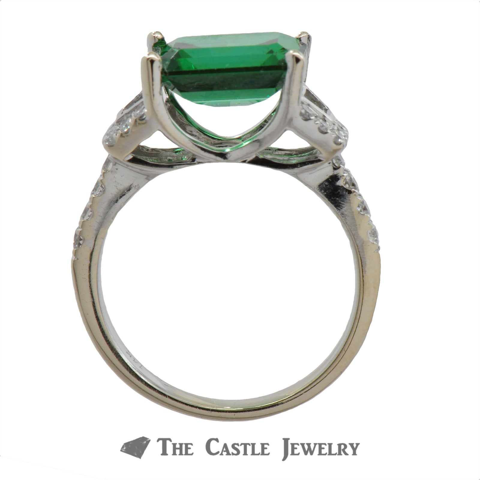 Side Set Green Spinel Ring with Baguette & Round Diamond Mounting-1