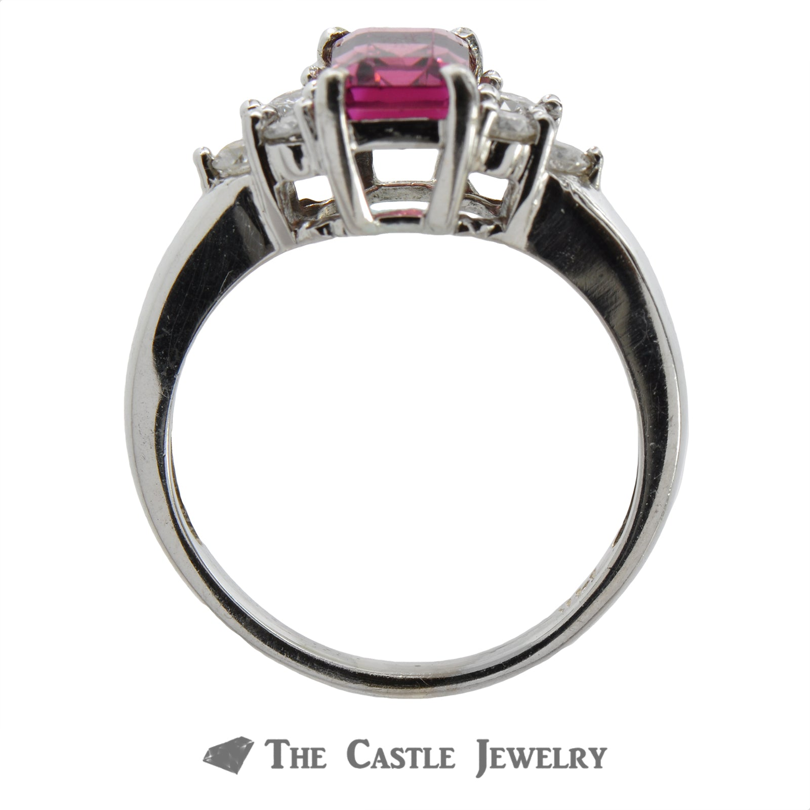 Emerald Cut Pink Rhodolite Garnet Ring with Diamond Accents-1