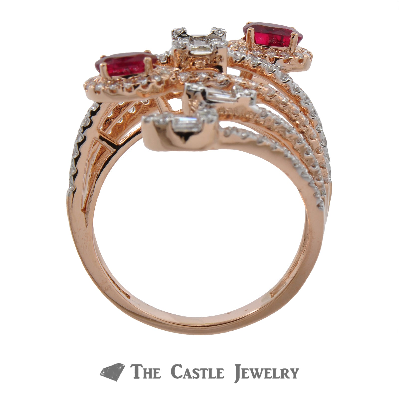 Diamond and Ruby Statement Ring in 14k Rose Gold-1
