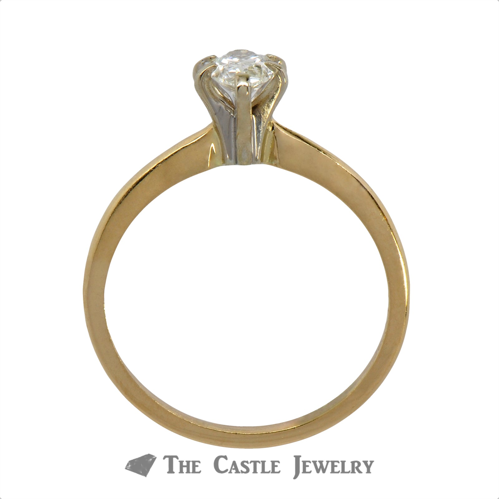 Pear Cut 1/2 carat Solitaire Engagement Ring in 14K Yellow Gold-1