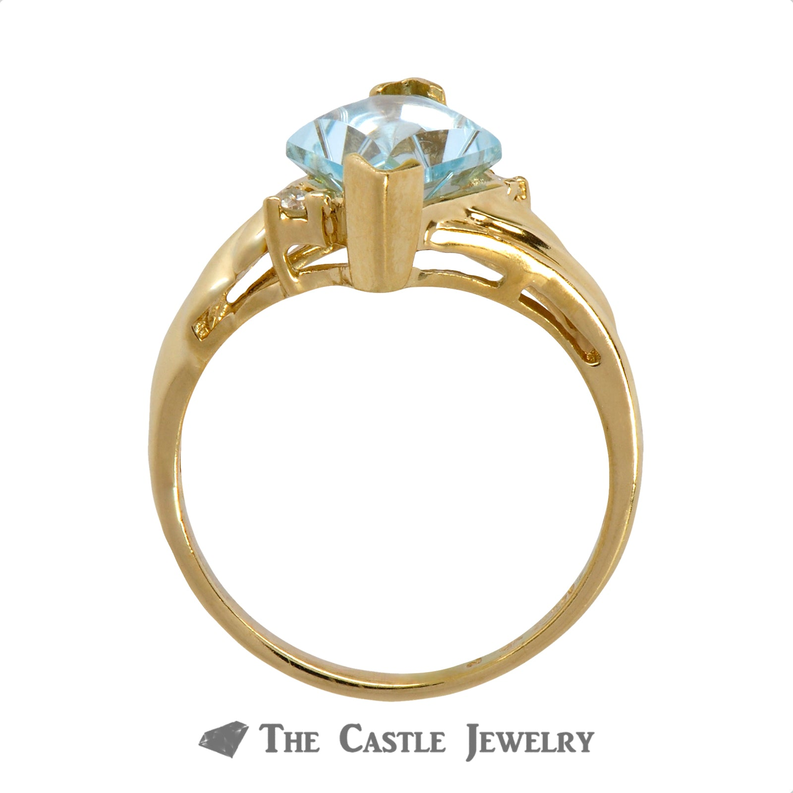 Unique Kite Cut Aquamarine Ring with Diamond Accents Crafted in Ridged 14k Yellow Gold Mounting-1