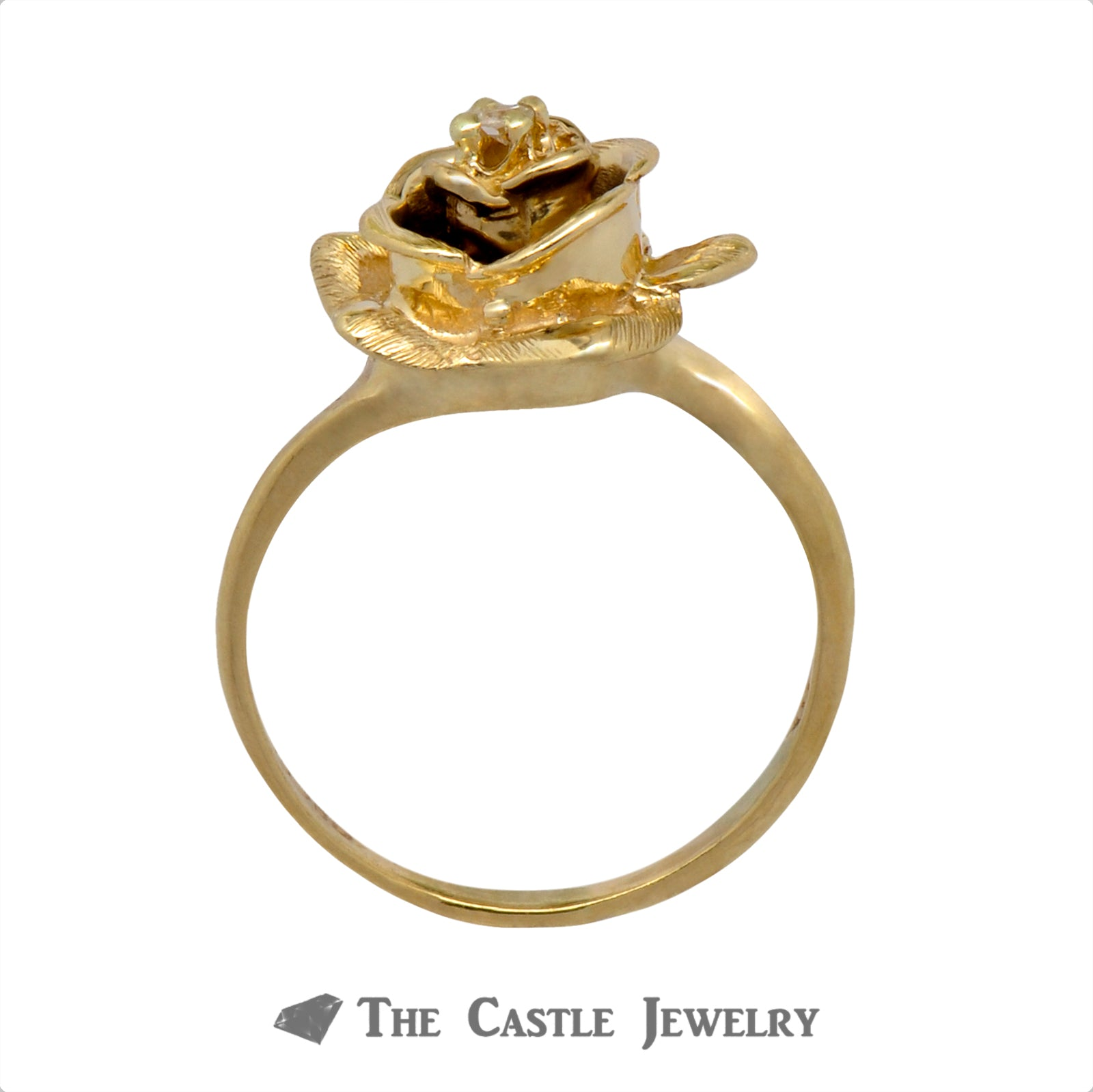 Yellow Gold Rose Shaped Ring with Diamond Center-1