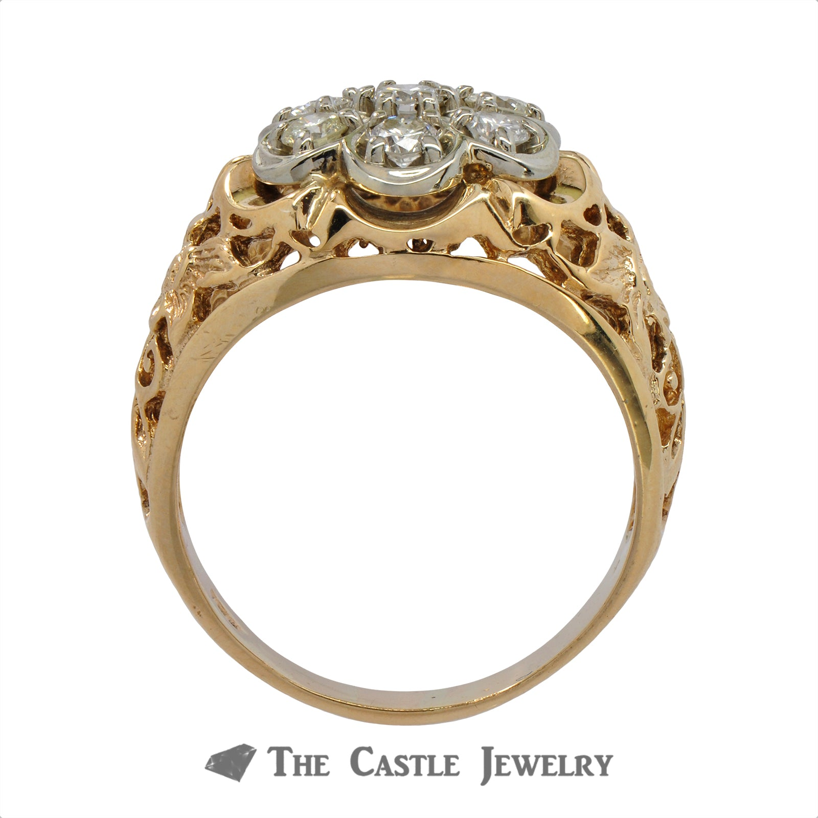 7 Diamond Cluster Ring with Flower Filigree 10K Mounting-1