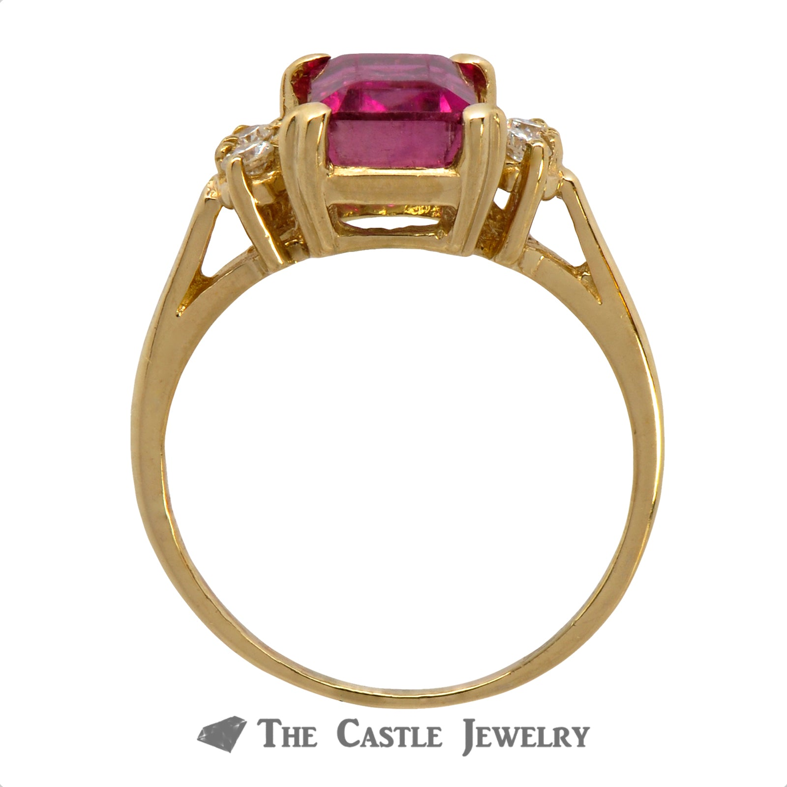 Watermelon Tourmaline Ring with Double Diamond Accents on Each Side Crafted in 14k Yellow Gold-1