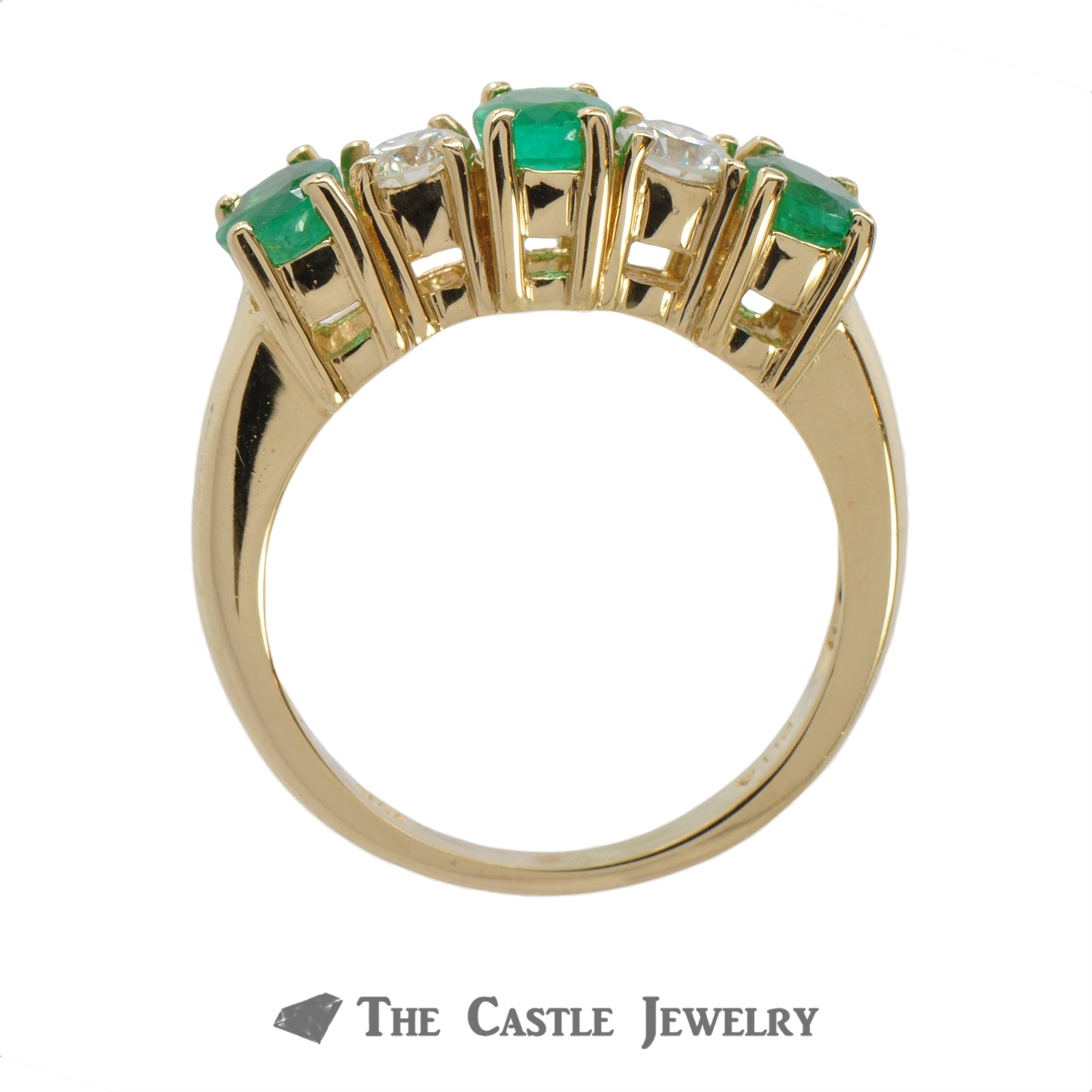 Deep Green Emerald And Diamond Ring In 14K Yellow Gold-1