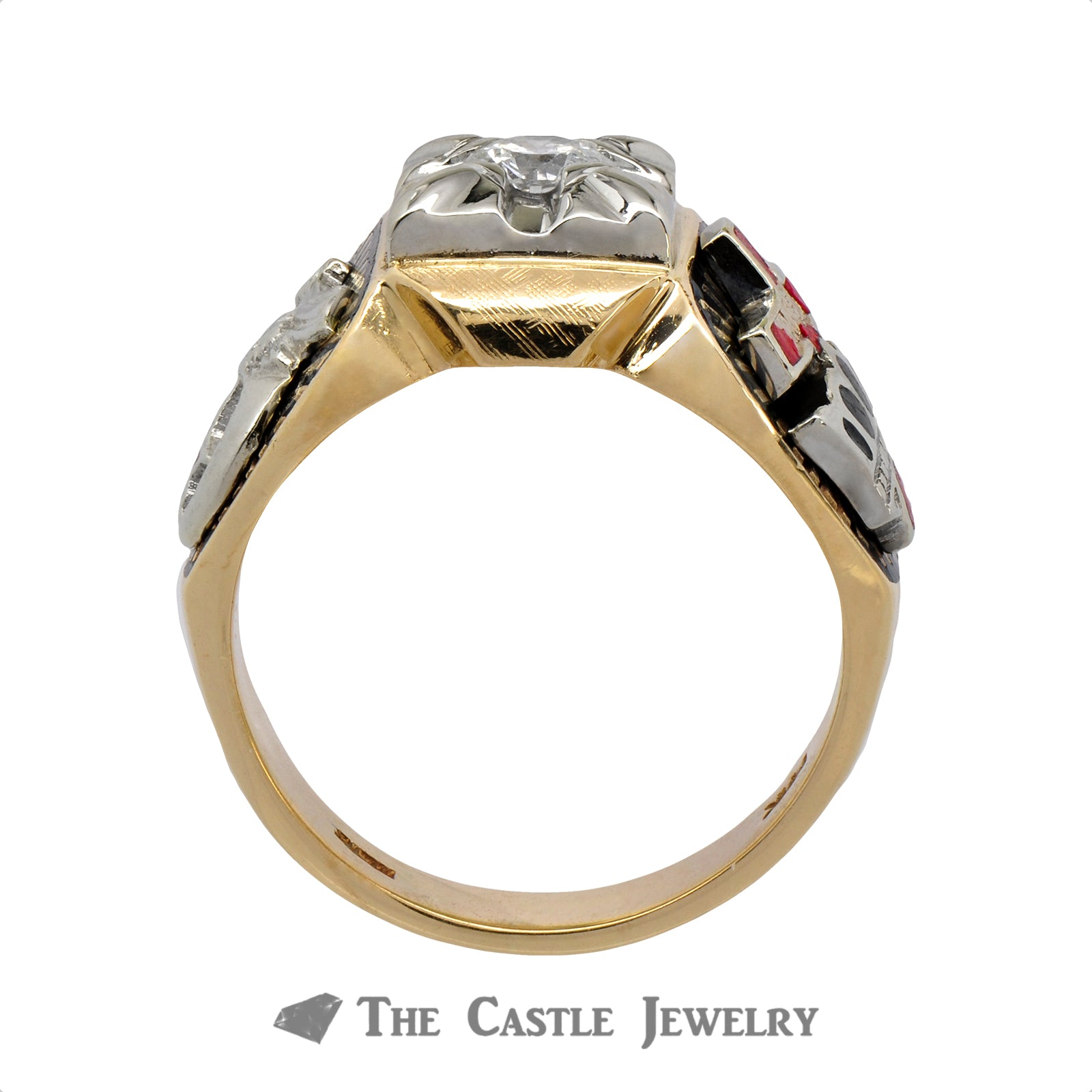 Ancient Order of the Nobles of the Mystic Shrine Ring with Diamond Solitaire-1
