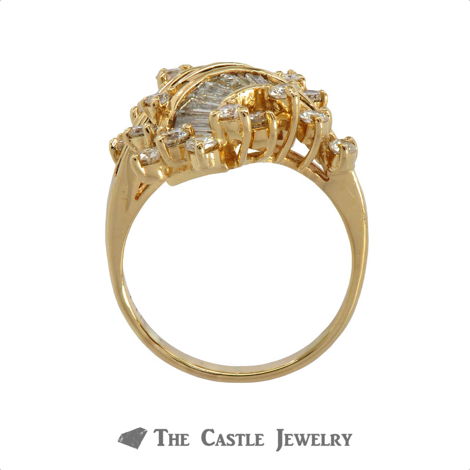 14K Yellow Gold Bypass Ring with Baguette and Round Brilliant Cut Diamonds-1