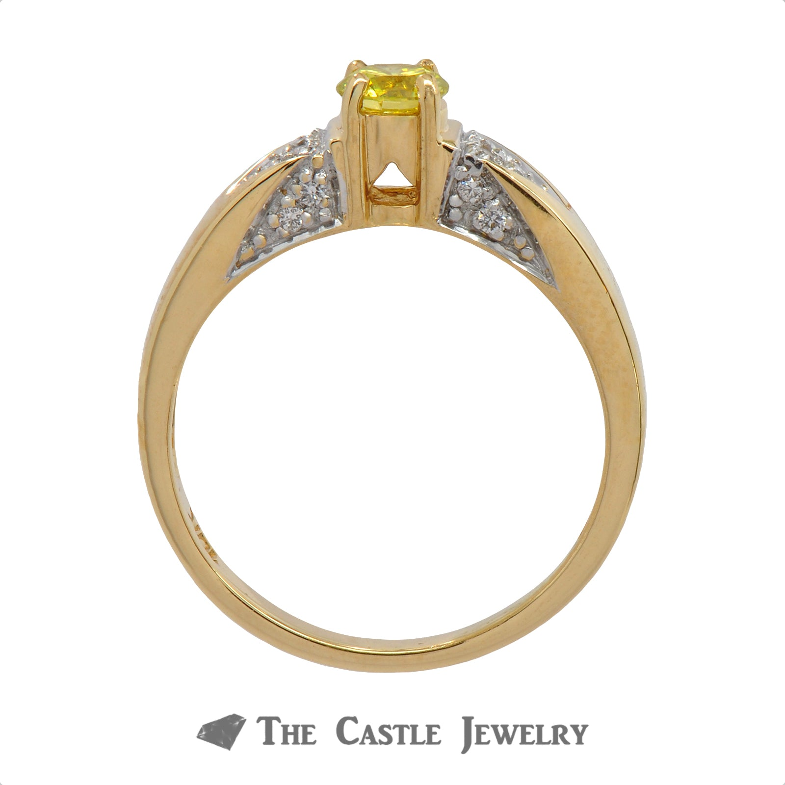 Diamond Engagement Ring With .33 CT Fancy Yellow Diamond .50 CTTW 18K Yellow Gold-1