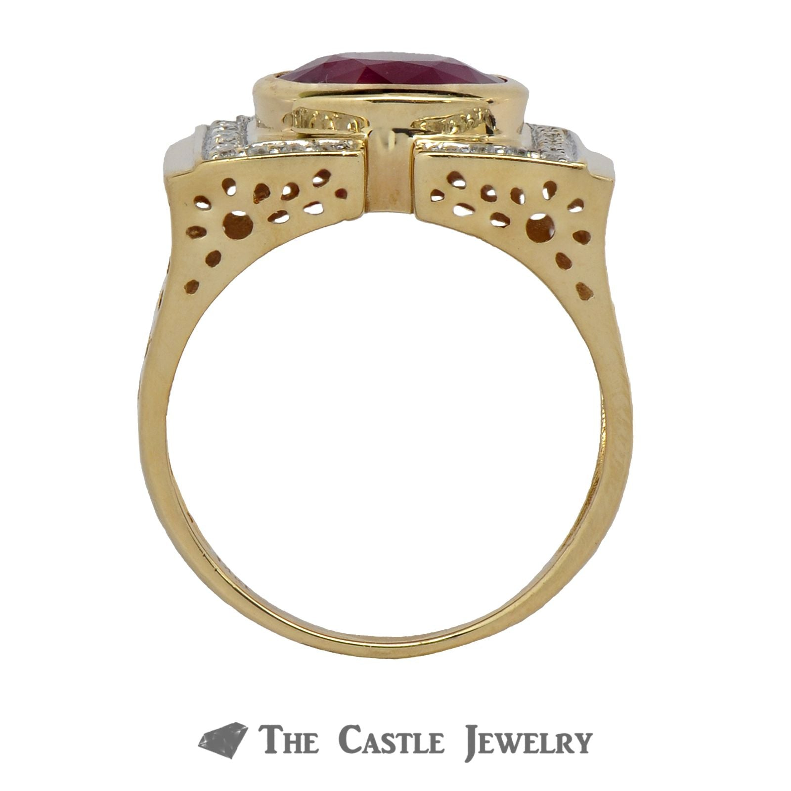 Bezel Set Ruby Ring with Diamond Accented 14K Yellow Gold Mounting-1