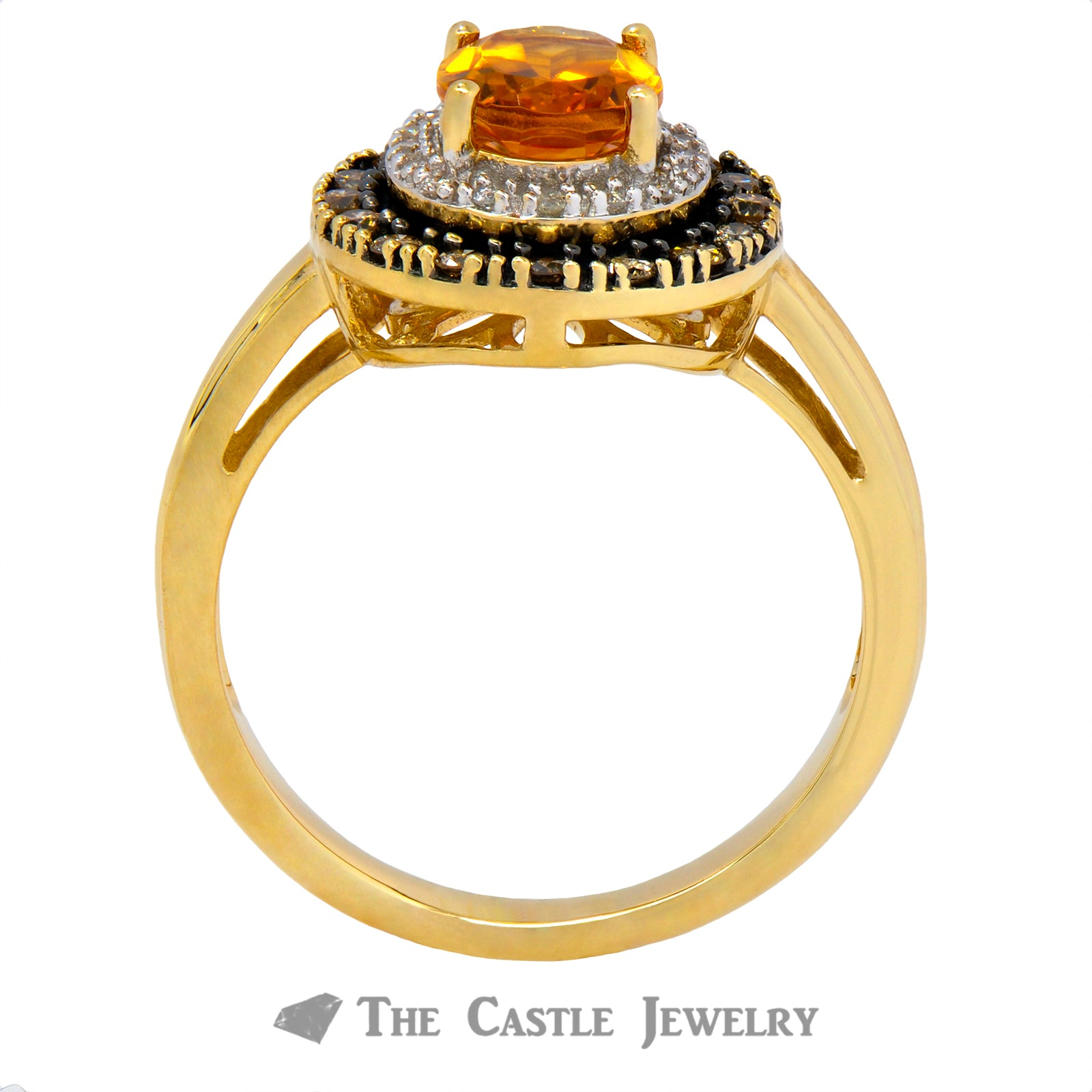 Oval Citrine Double Halo Ring Crafted in 14K Yellow Gold-1