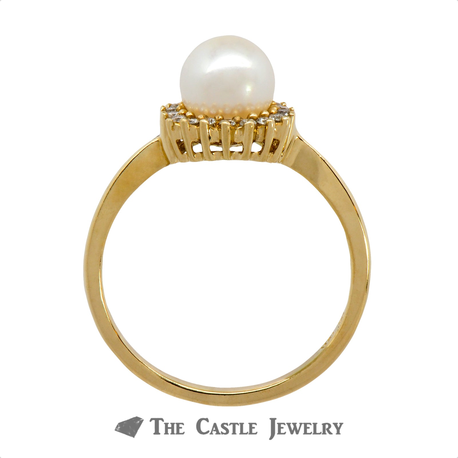 Gorgeous Pearl Ring with .18cttw Diamond Halo Crafted in 10k Yellow Gold-1