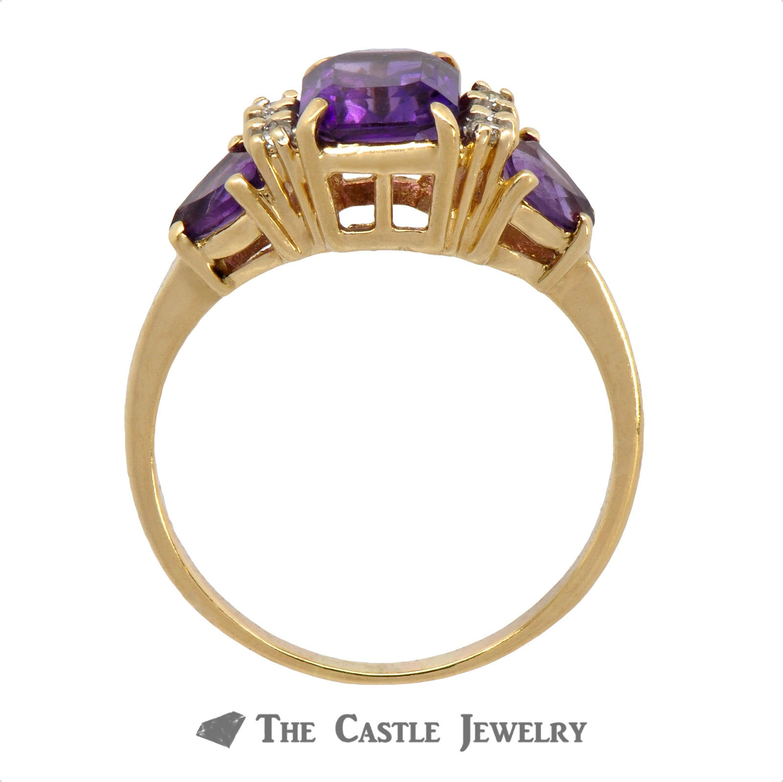 Emerald Cut Amethyst Ring with Trillion Cut Amethyst and Round Diamond Accents in 10k Yellow Gold-1