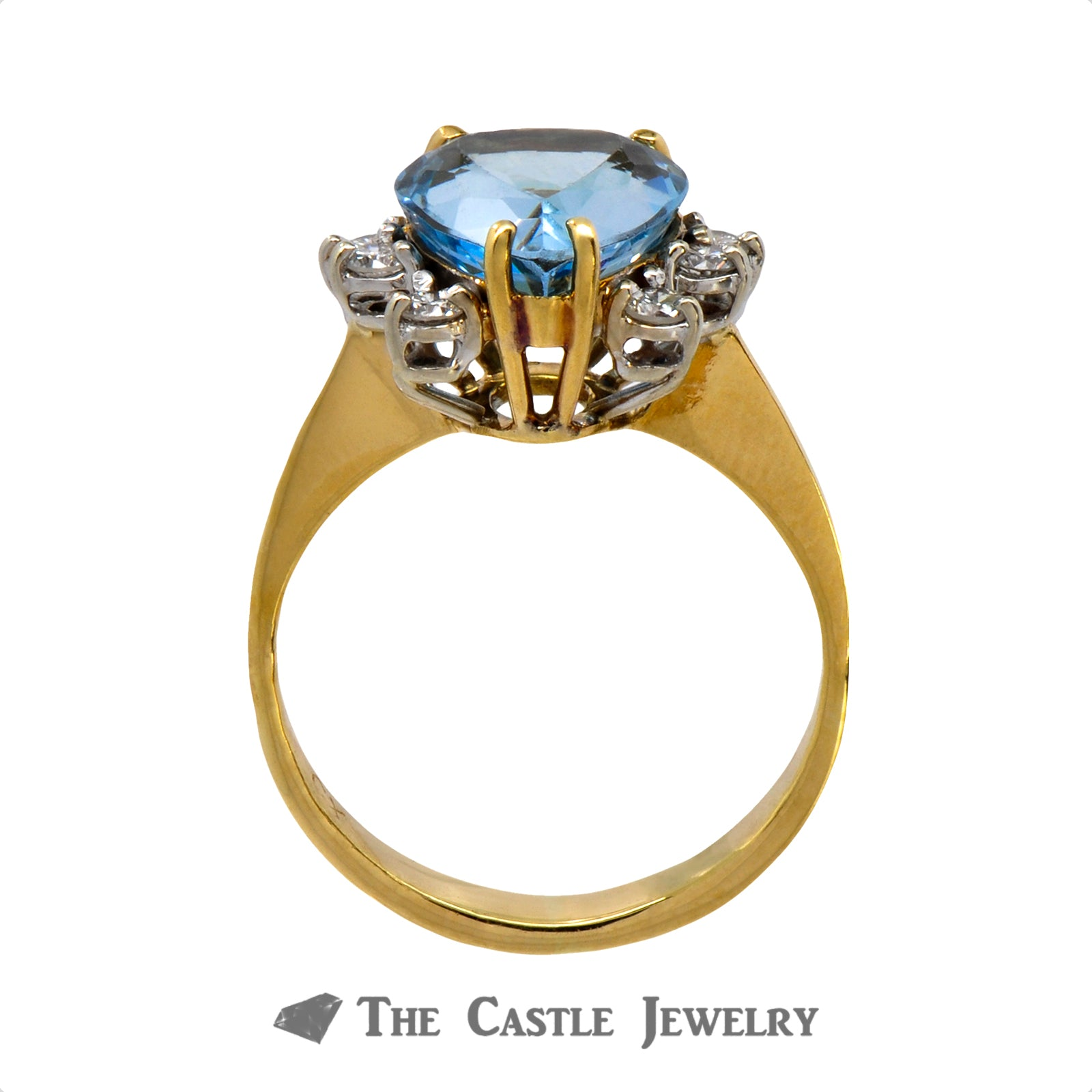 Vibrant Pear Cut Aquamarine Ring with Round Diamond Accents in 18k Yellow Gold-1