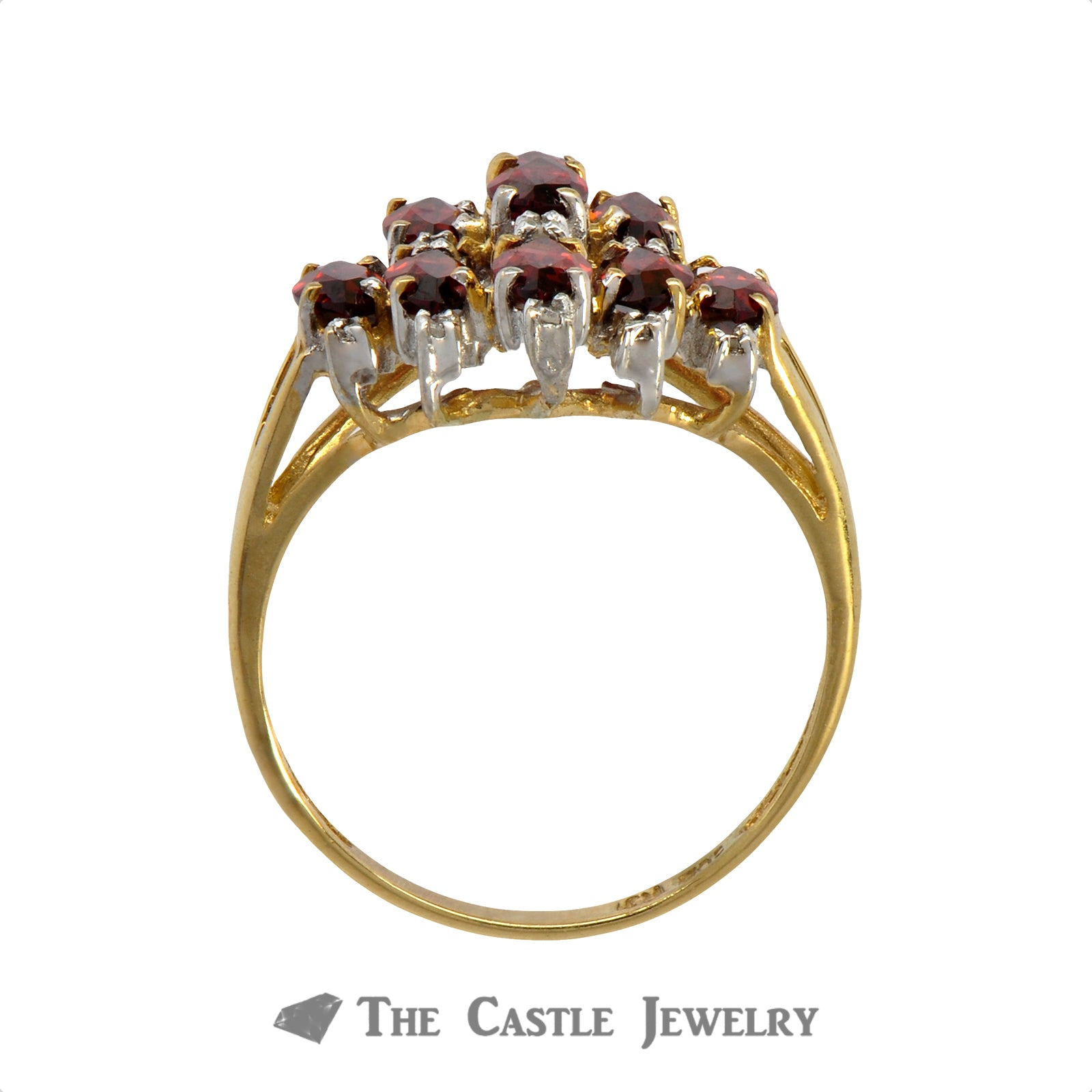 Marquise Shaped Garnet Cluster Ring in 10K Yellow Gold-1