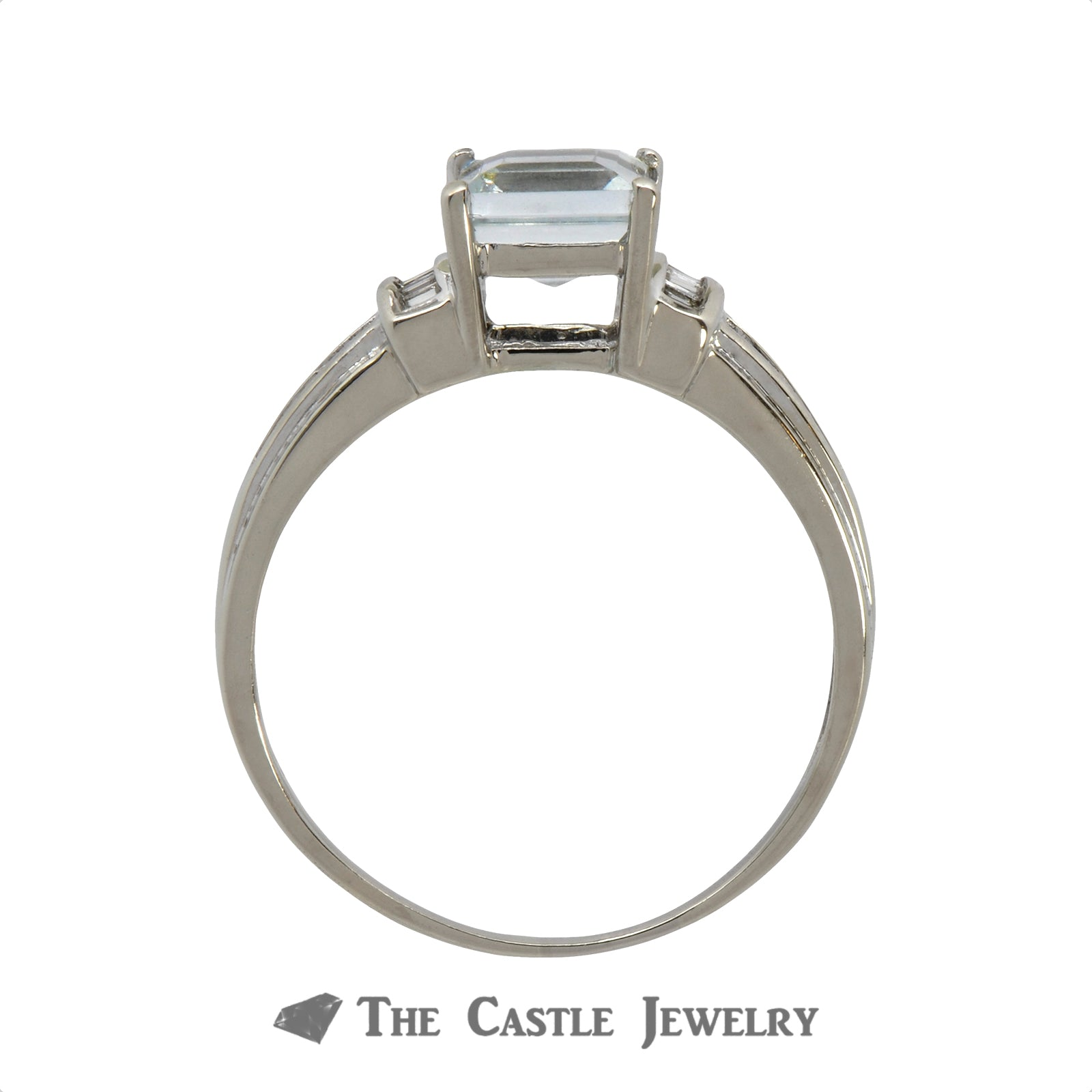 Princess Cut Aquamarine Ring with .25cttw Baguette & Round Diamond Accents in 14k White Gold-1