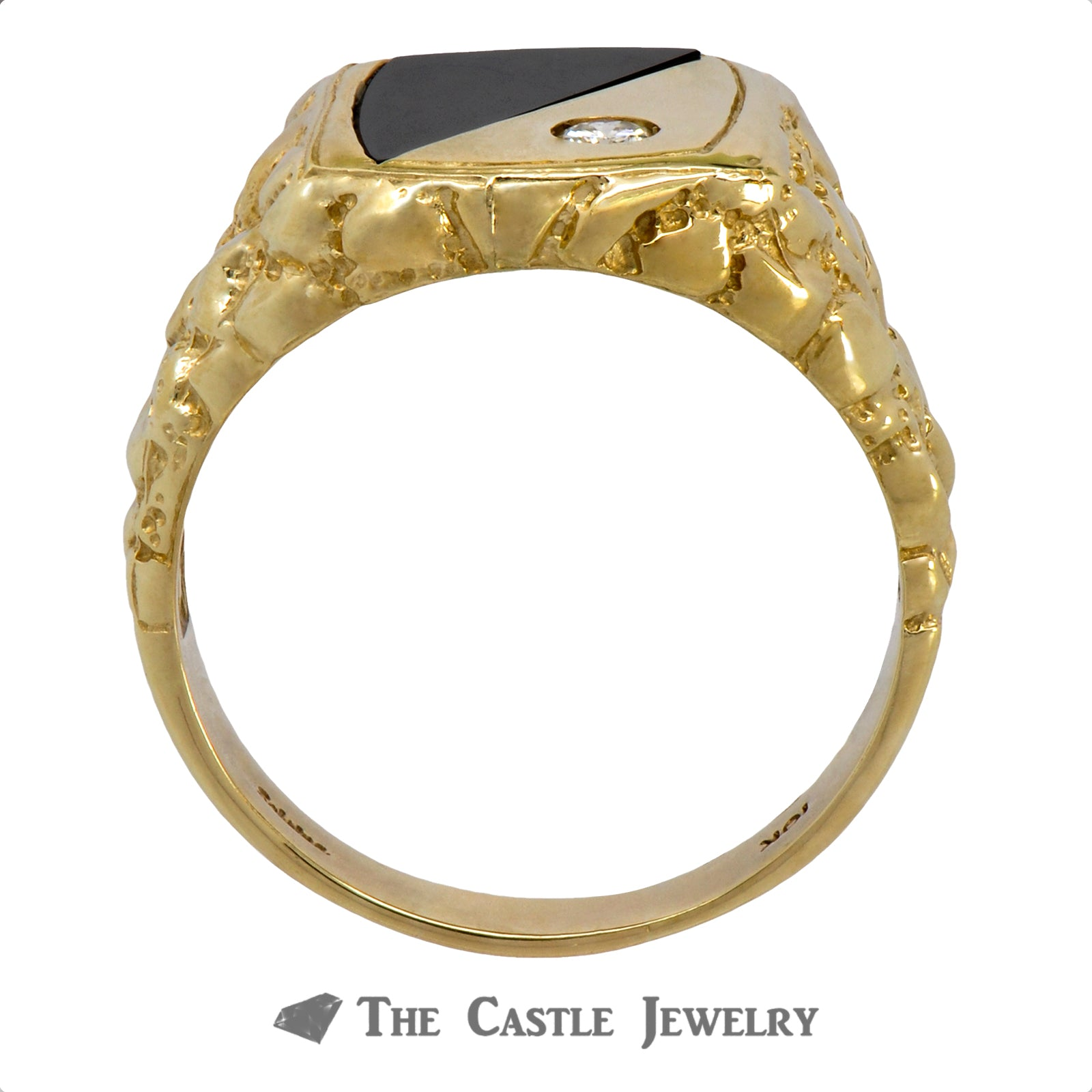 Men's Diamond & Onyx Ring in 10k Yellow Gold Mounting with Nugget Sides-1