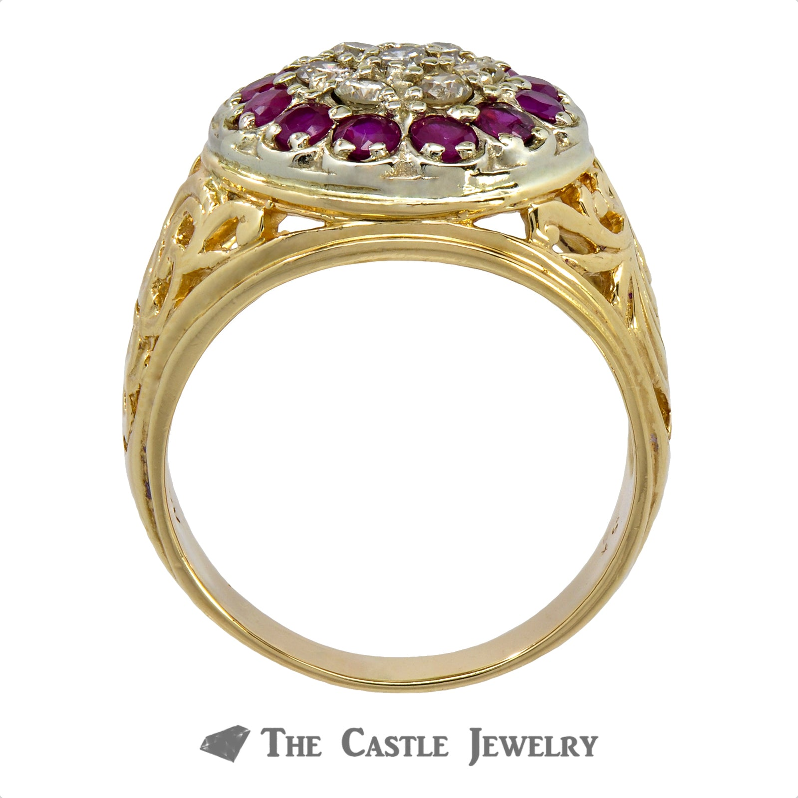 Gent's Round .50cttw Diamond & Ruby Kentucky Cluster w/ Scroll Design Sides in 14k Yellow Gold-1