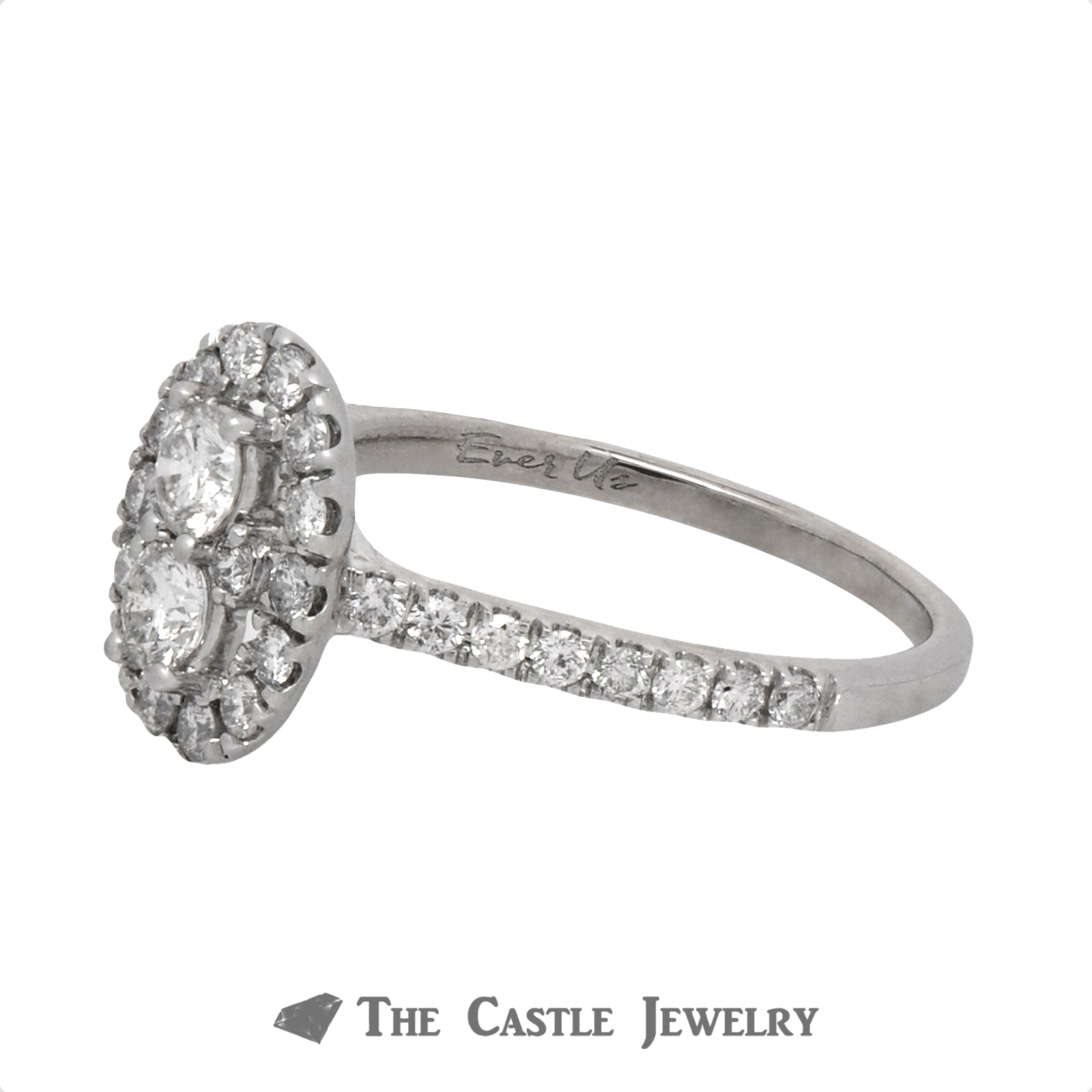 Double Diamond Halo Ever Us Engagement Ring with Diamond Accents in 14k White Gold-3