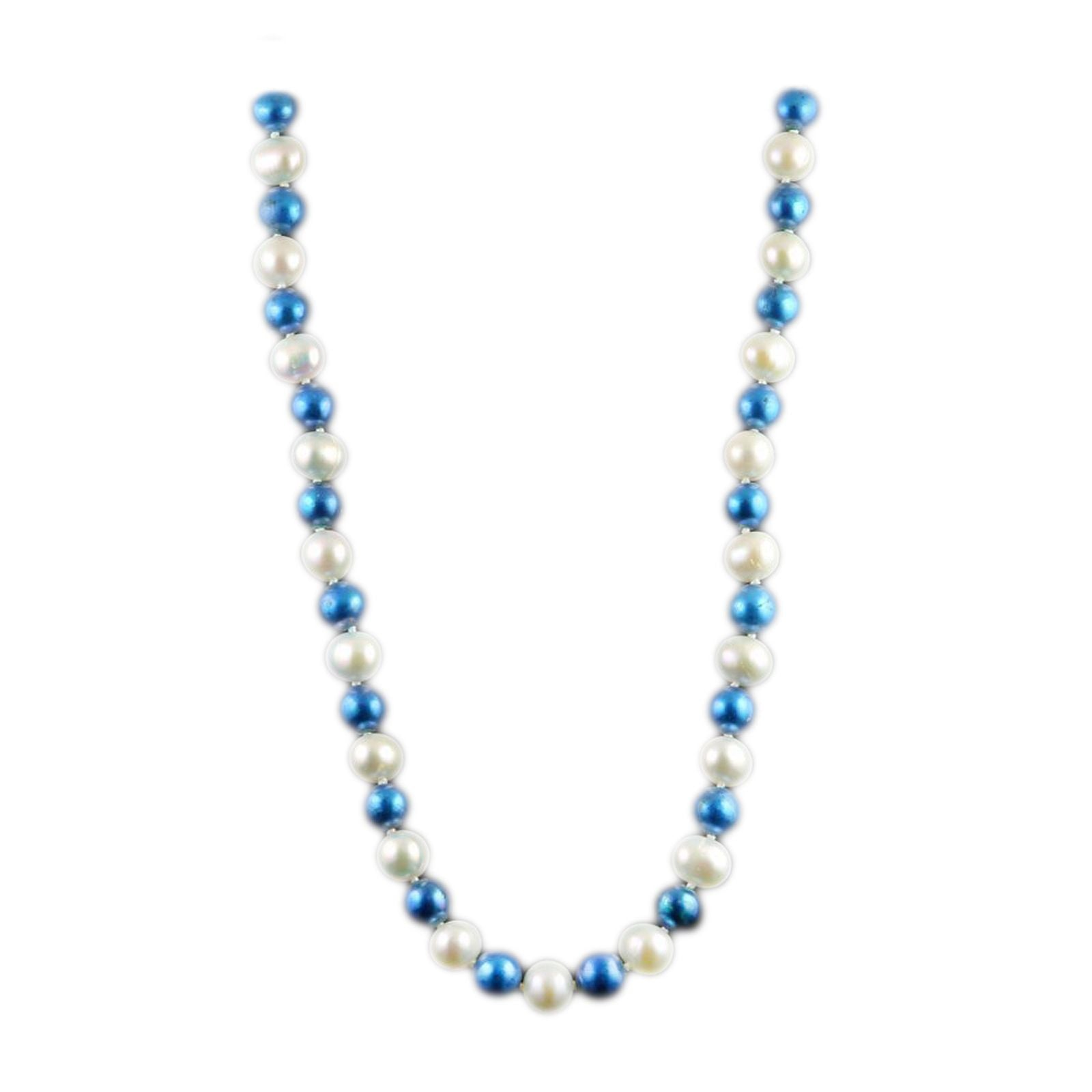 SPECIAL! Collegiate University of Kentucky Blue and White Pearl Necklace-0
