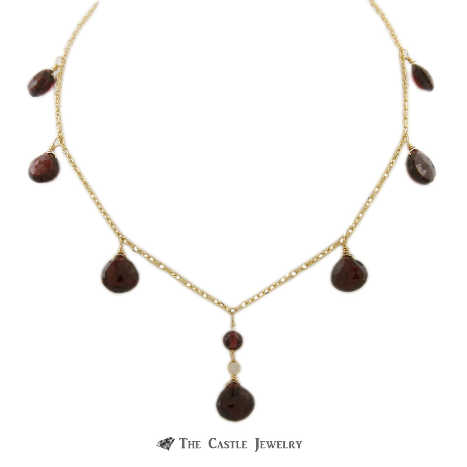Dangling Briolette Garnet Necklace on Oval Link Chain w/ Removable Extension in 14K Gold