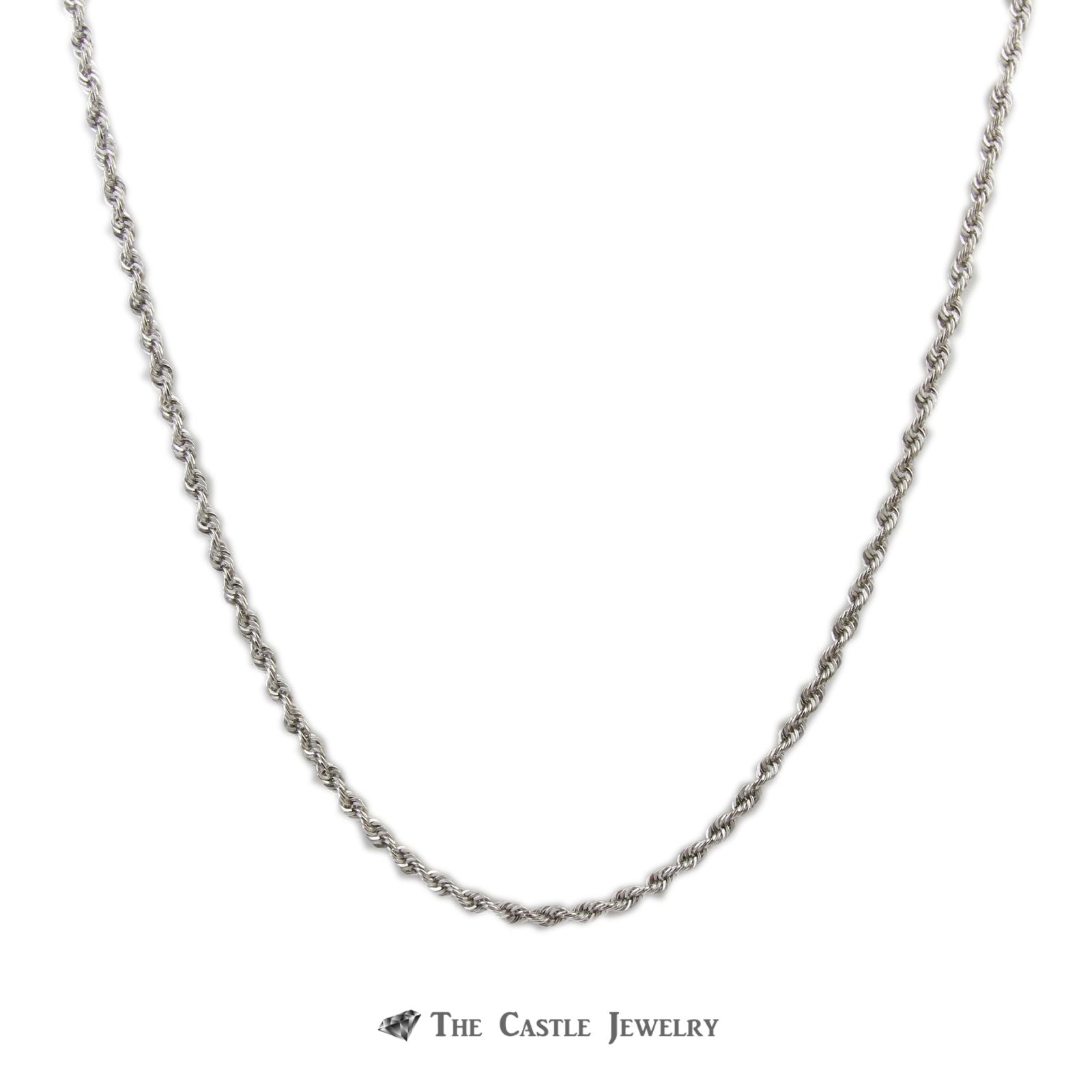 "18"" Rope Link Chain with Lobster Clasp in 10K White Gold"