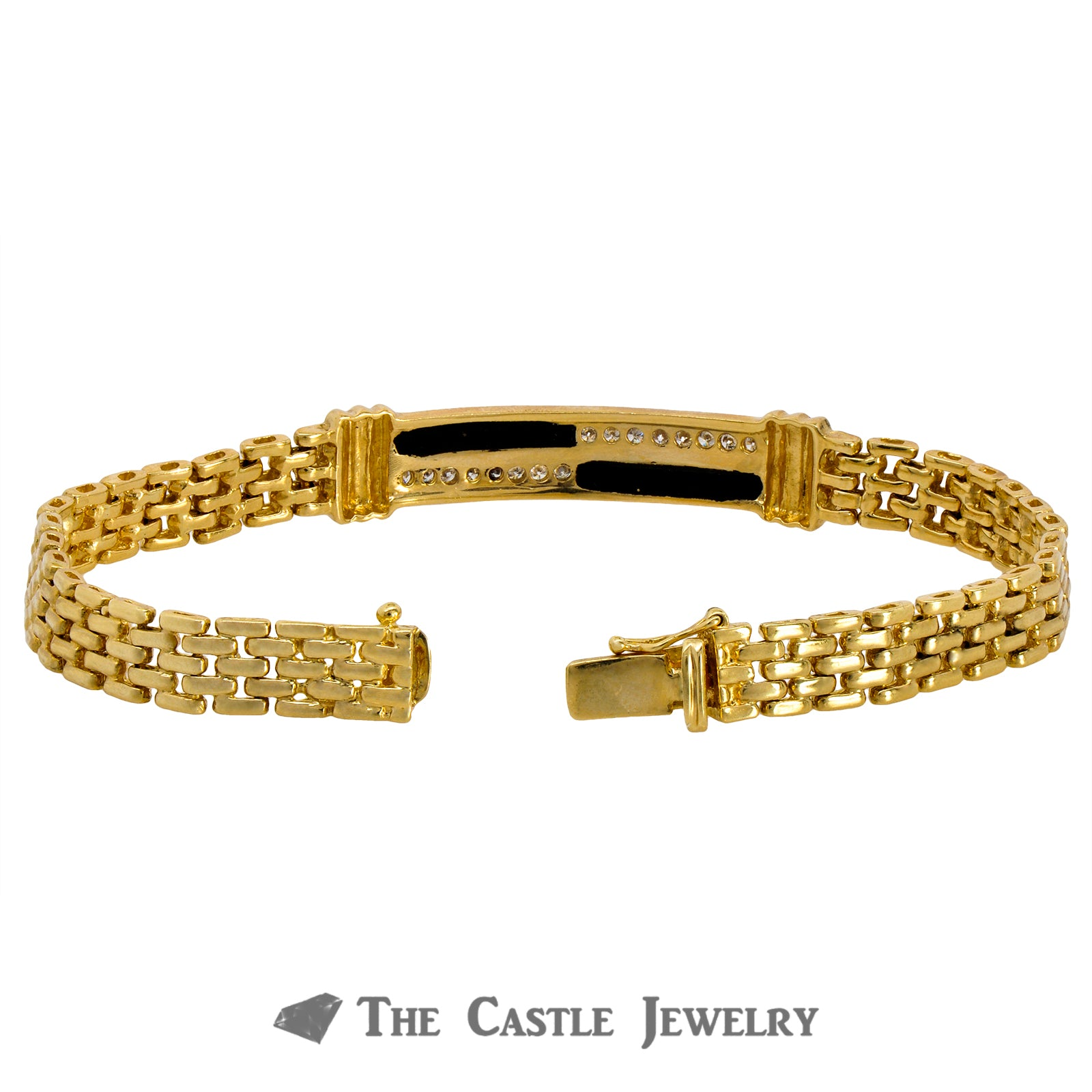 8 Inch Men's Bracelet Crafted in 14K Yellow Gold with Onyx and Diamond Bar Center-1