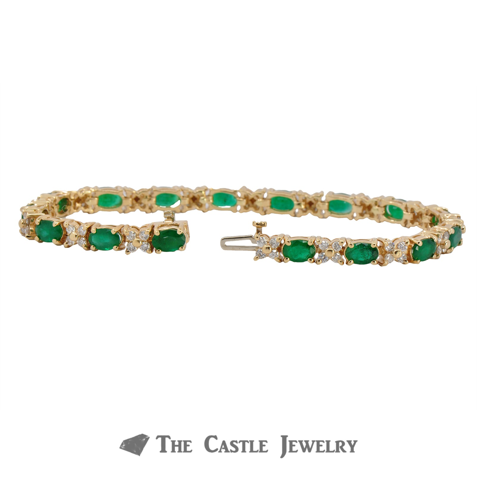 Oval Cut Emerald and Diamond Bracelet in 14K Yellow Gold-1