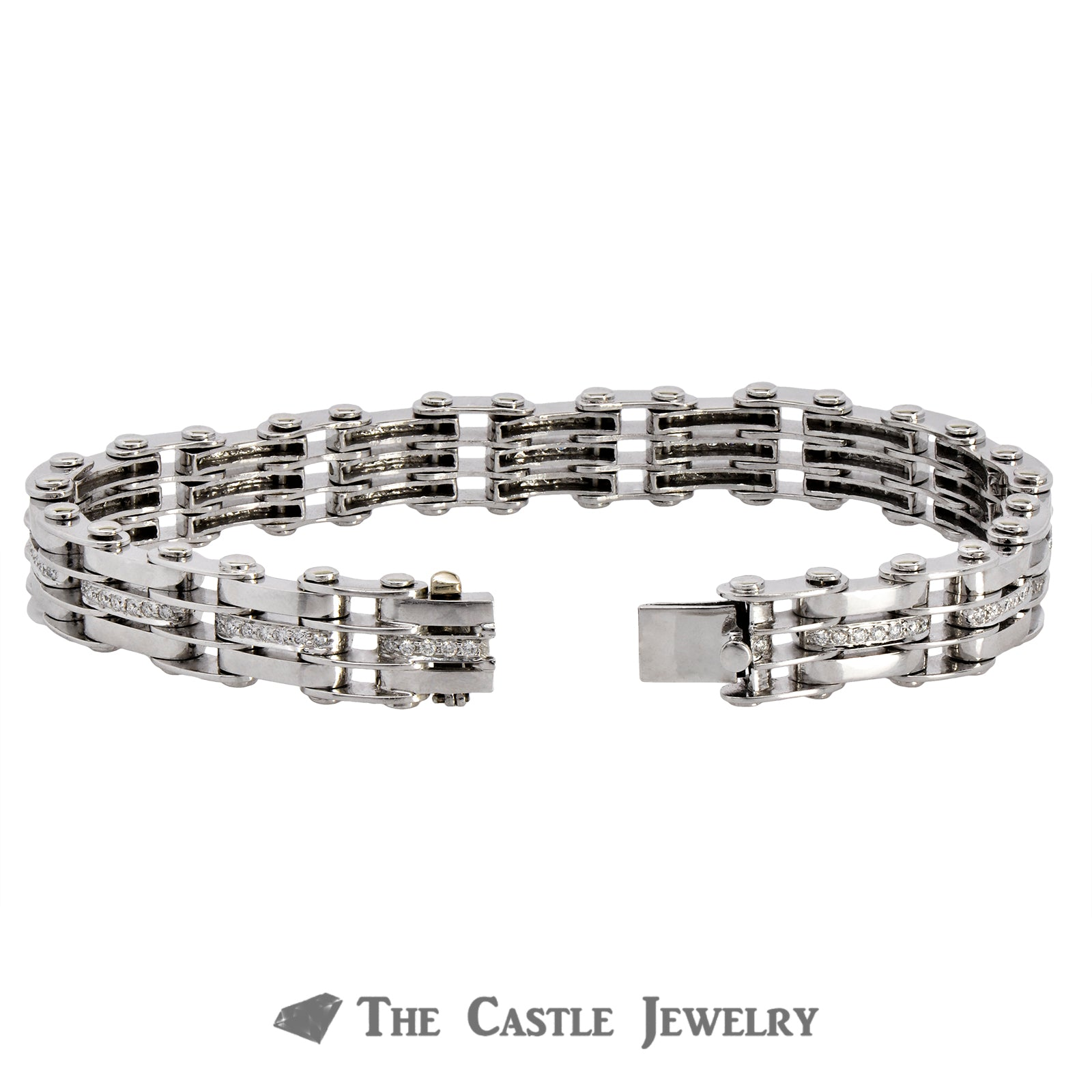 14K White Gold Men's Bracelet with Railroad Links and Diamonds-1