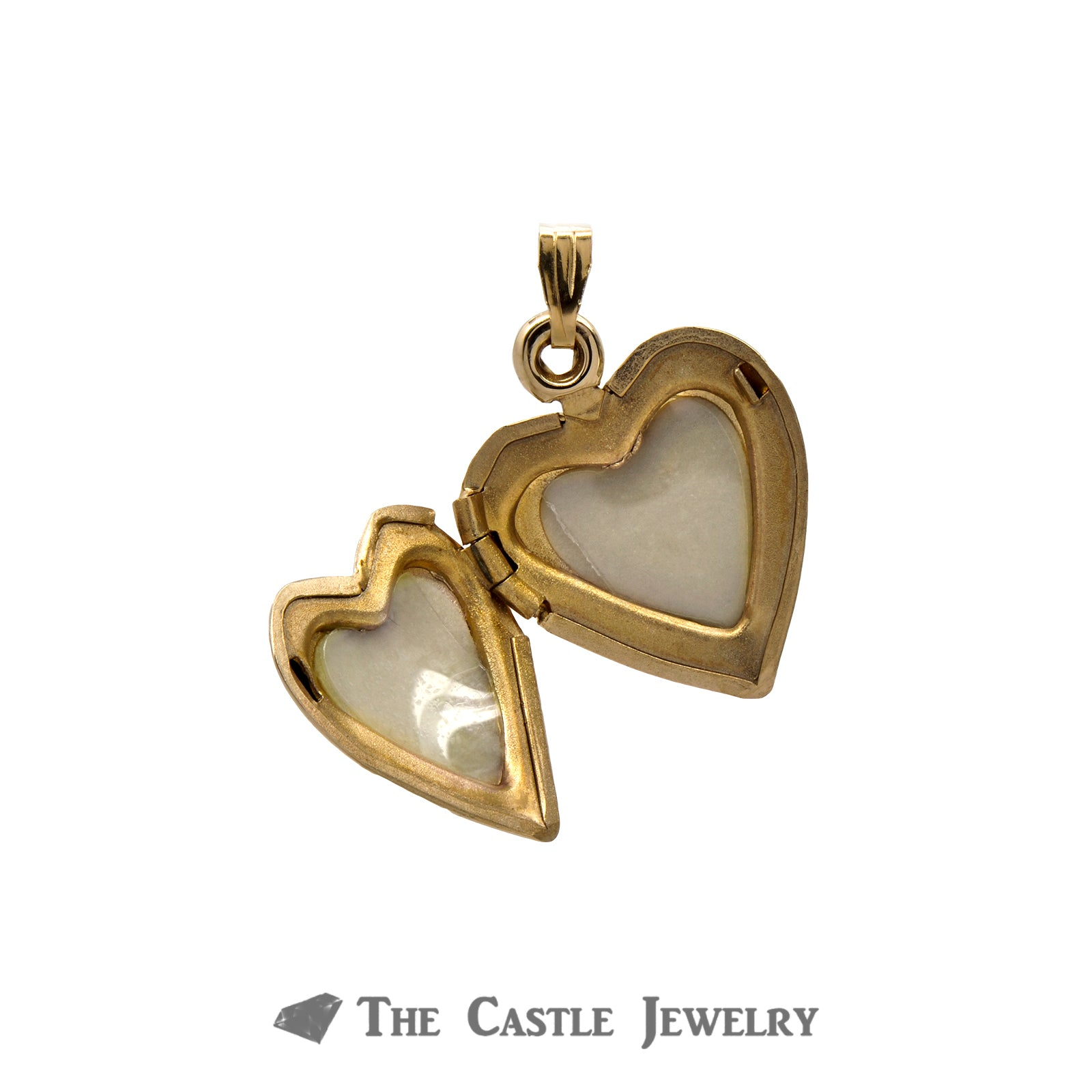 14k Yellow Gold Heart Locket Pendant with Floral Design-1