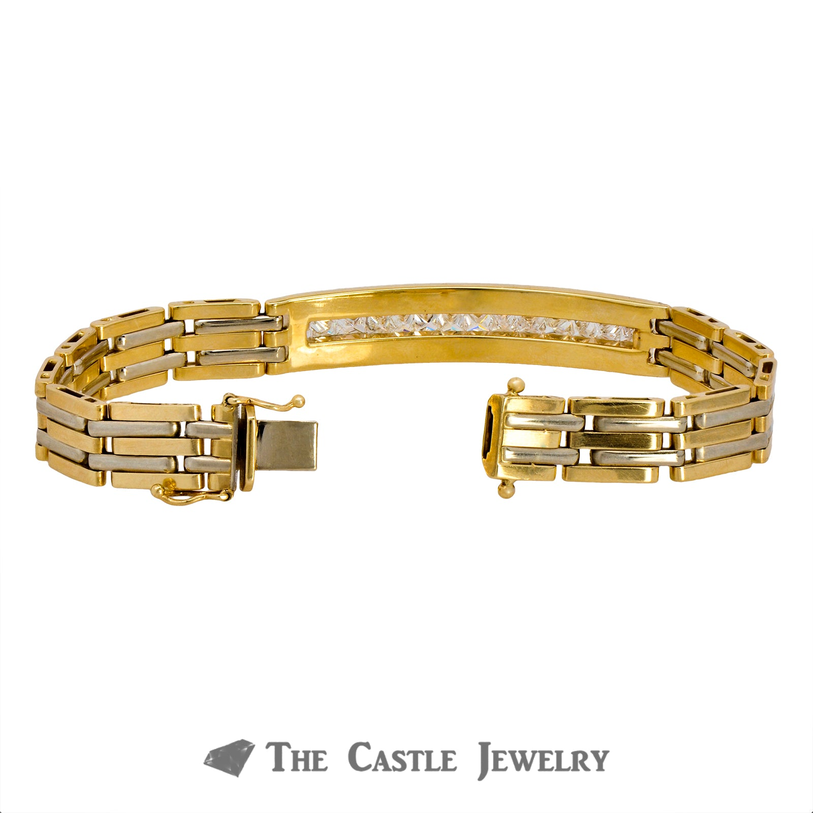 8 Inch Men's Bracelet Crafted in 14K Yellow Gold with Princess Cut Diamonds in Center-1