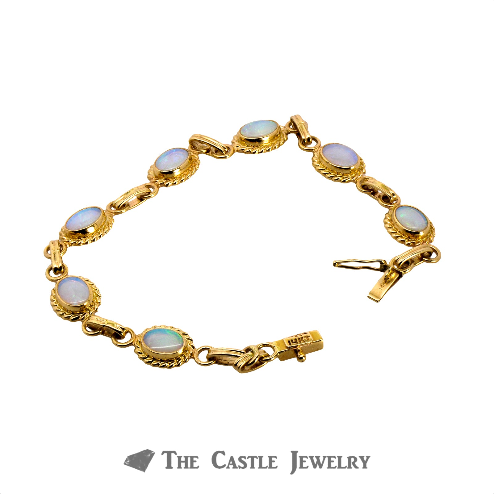 "7"" Oval Opal Bracelet with Rope Design Bezels Crafted in 14K Yellow Gold-1"