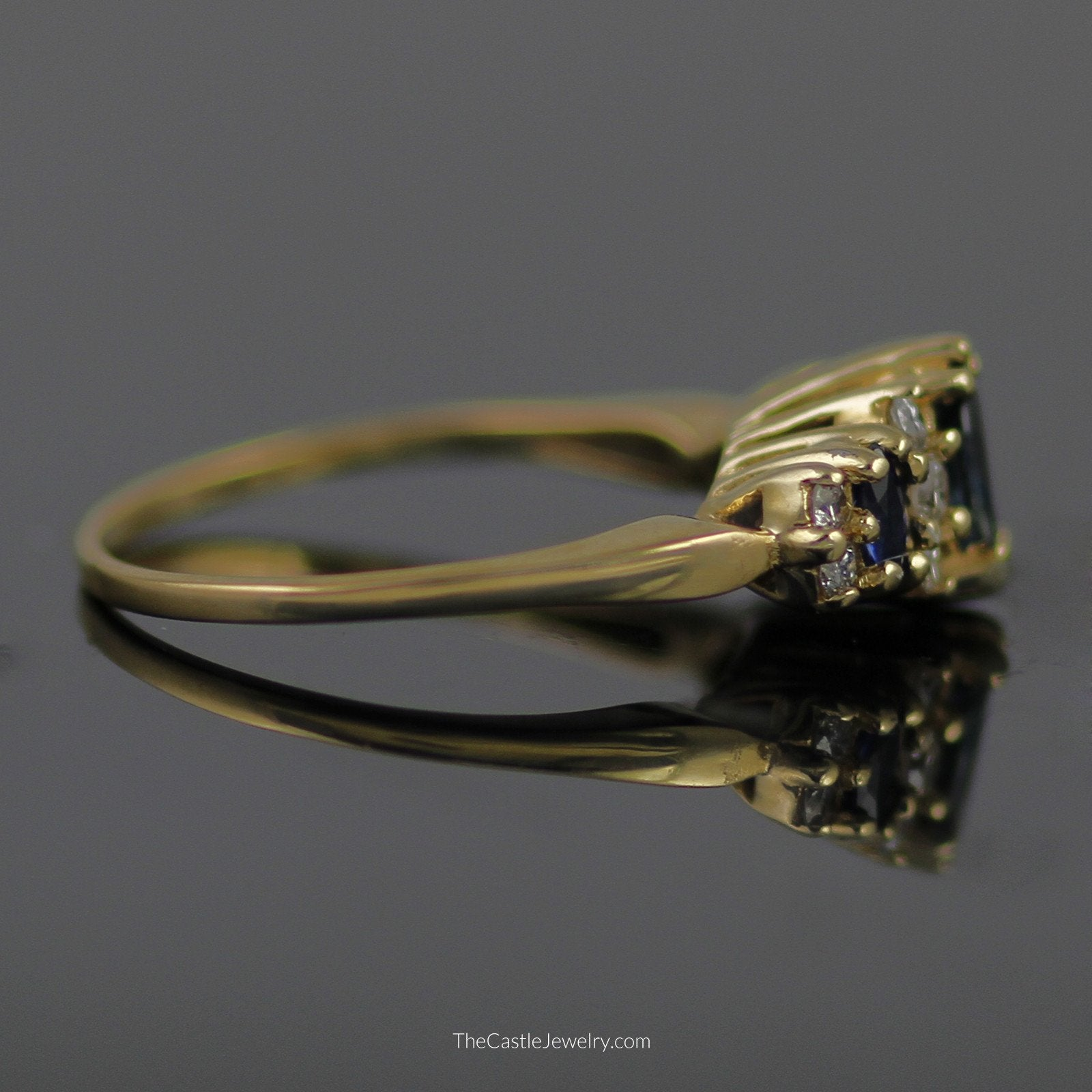 Marquise Sapphire Ring with Diamond Accents in 14K Yellow Gold-2