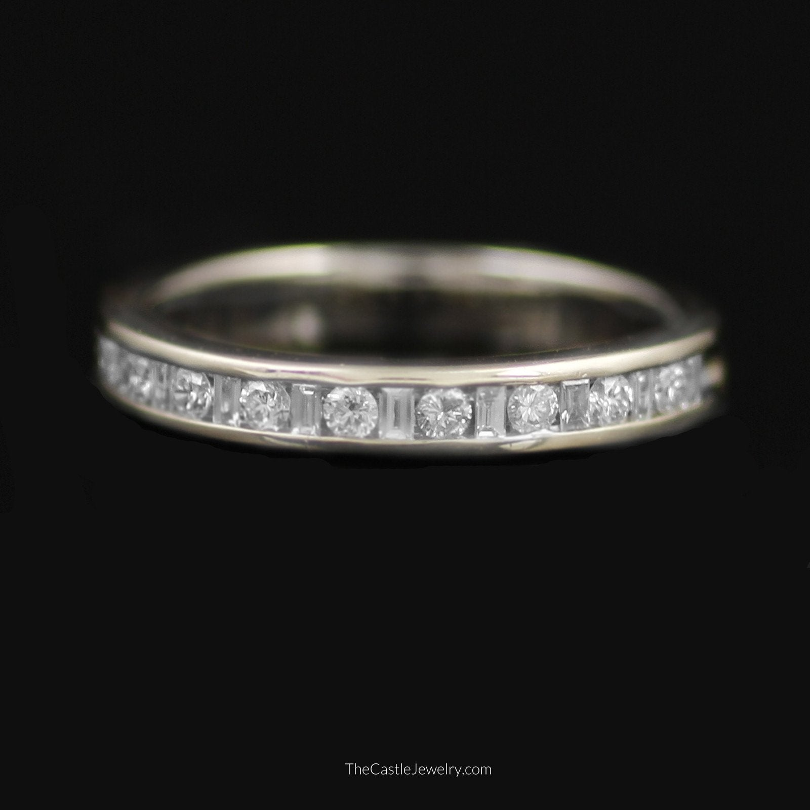 Baguette & Round Brilliant Cut 1/2cttw Diamond Band in 14K White Gold