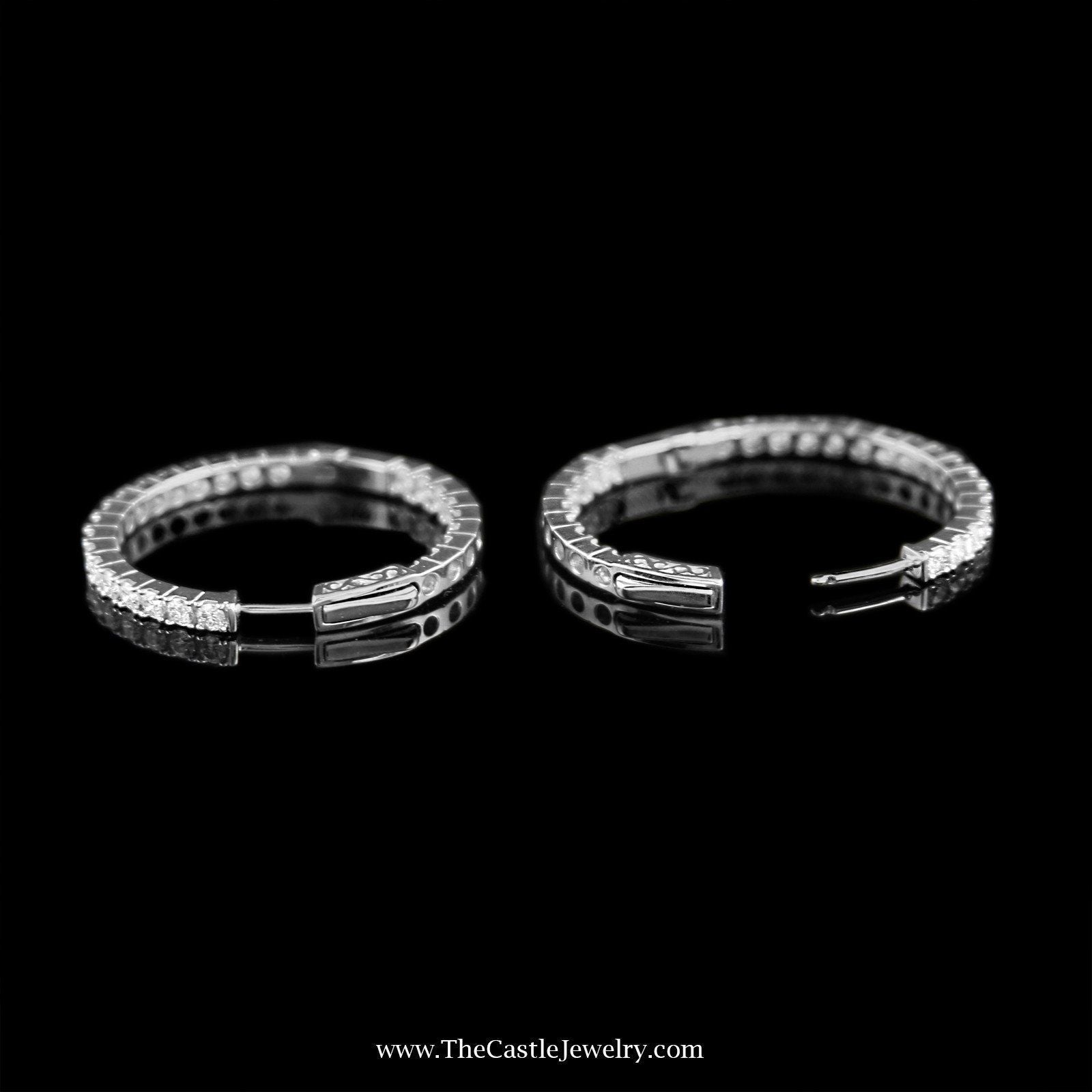 SPECIAL! Stunning In & Out 2cttw Diamond Hoops in 14K White Gold-1