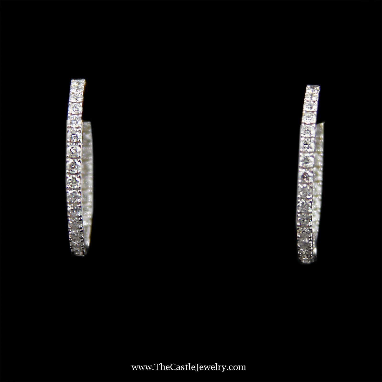 SPECIAL! Stunning In & Out 2cttw Diamond Hoops in 14K White Gold