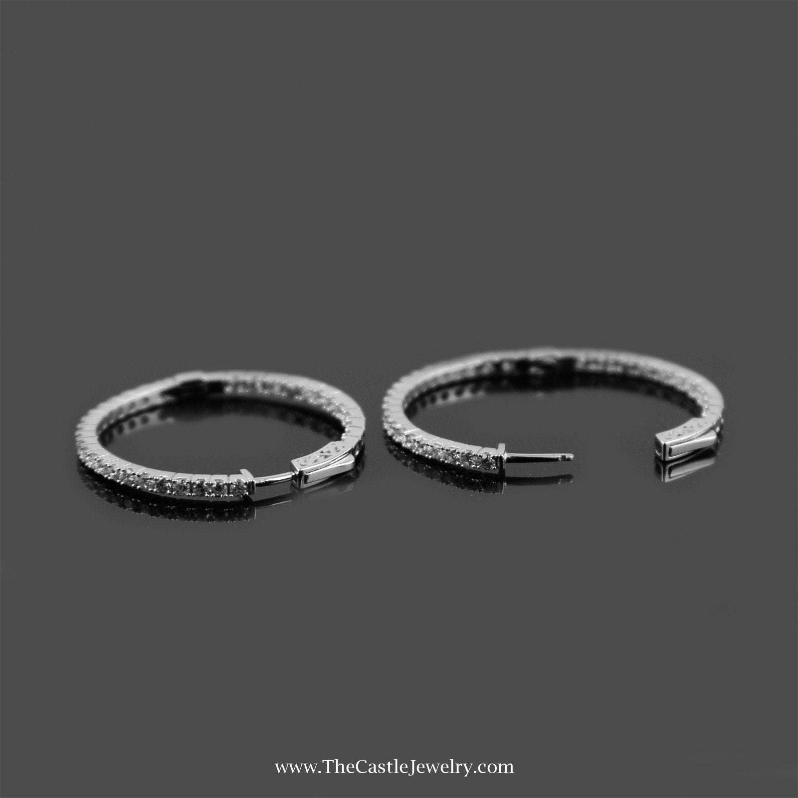Stunning In & Out 1.5cttw Diamond Hoops in 14K White Gold-1