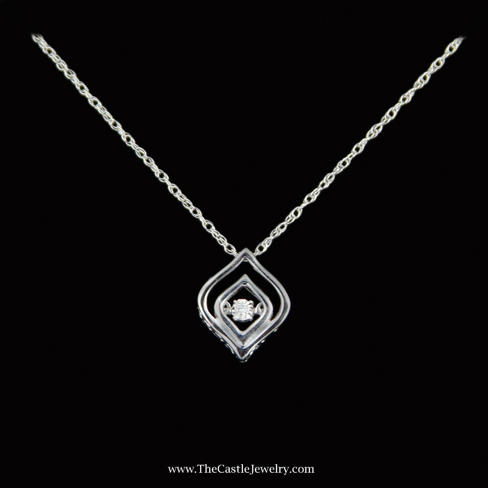 SPECIAL! Marquise Style Diamond Heart Beat Pendent in Sterling Silver
