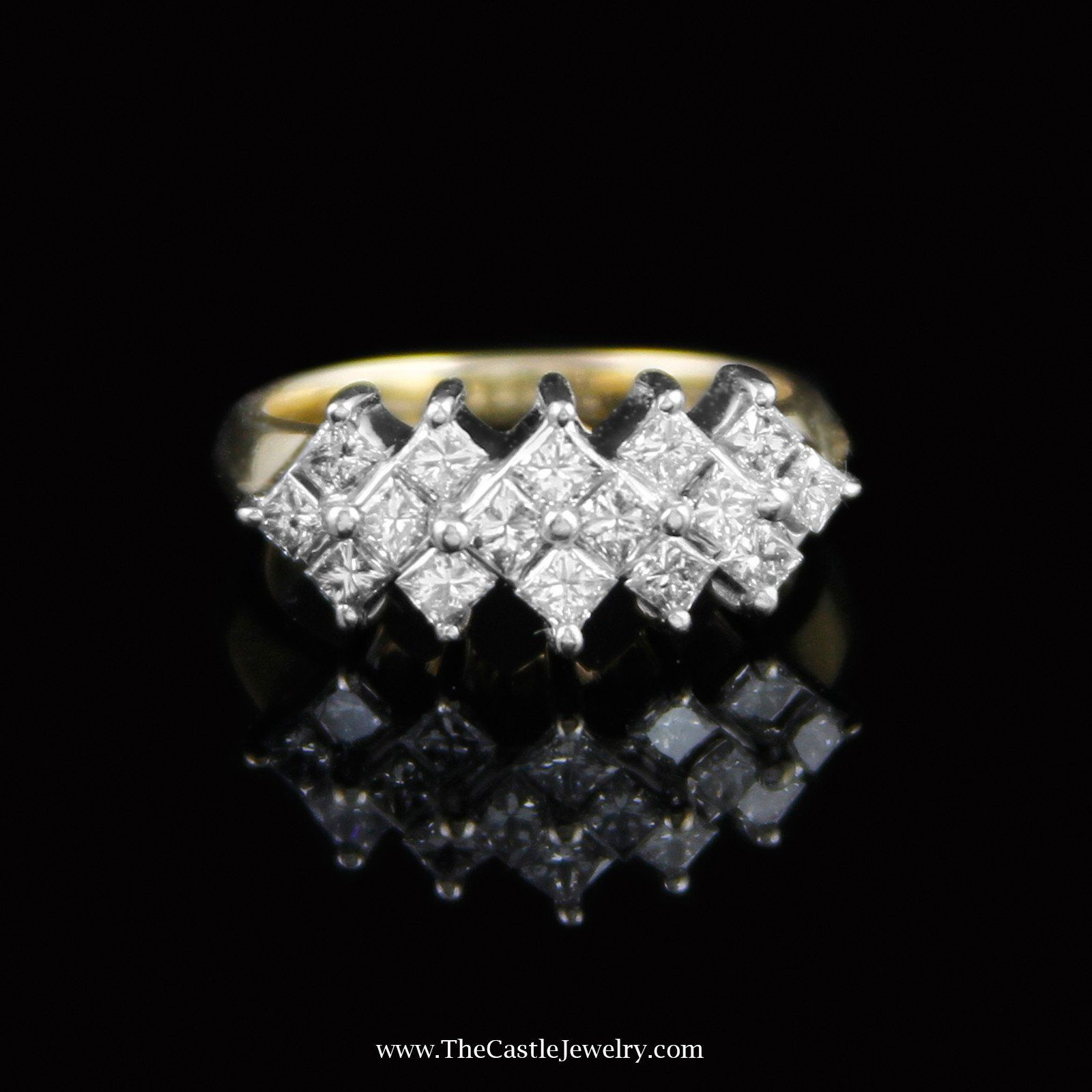 Triple Row Princess Cut Diamond Cluster Ring