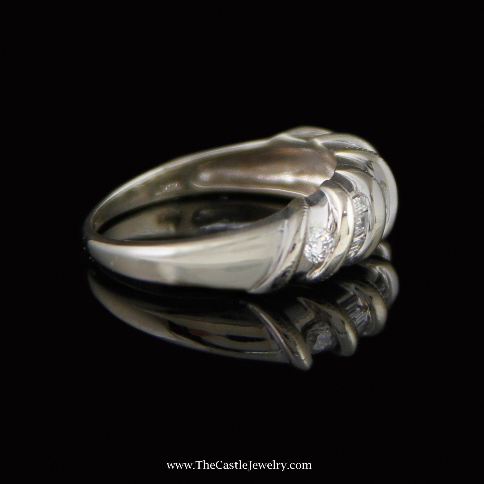Swirl Design Ring with .25cttw Total Diamond Weight in 14K White Gold-2