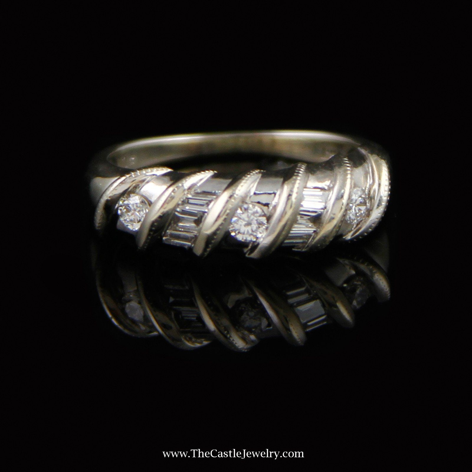 Swirl Design Ring with .25cttw Total Diamond Weight in 14K White Gold