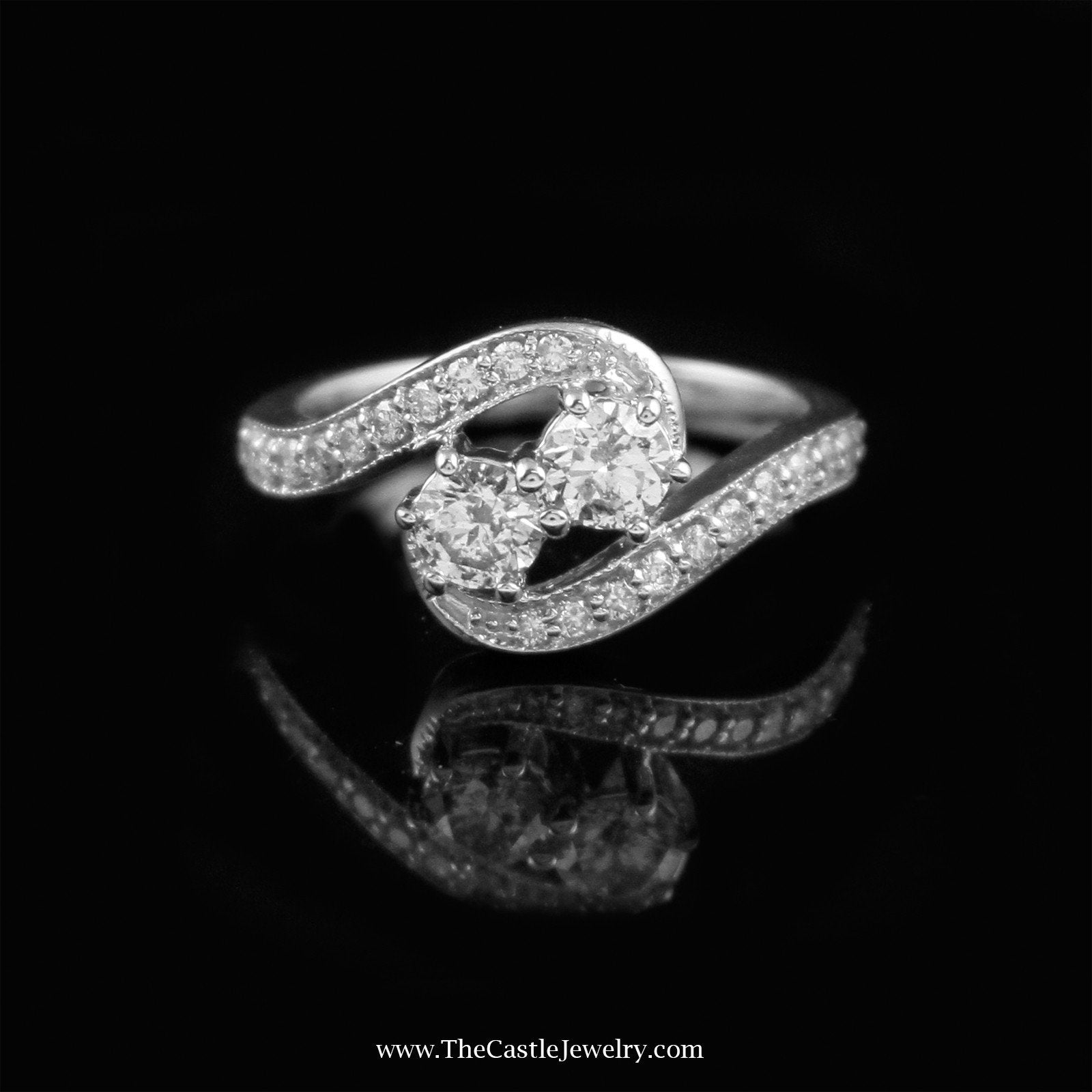 My Love My Best Friend 2 Round 1cttw Diamond Ring in 14K White Gold-0