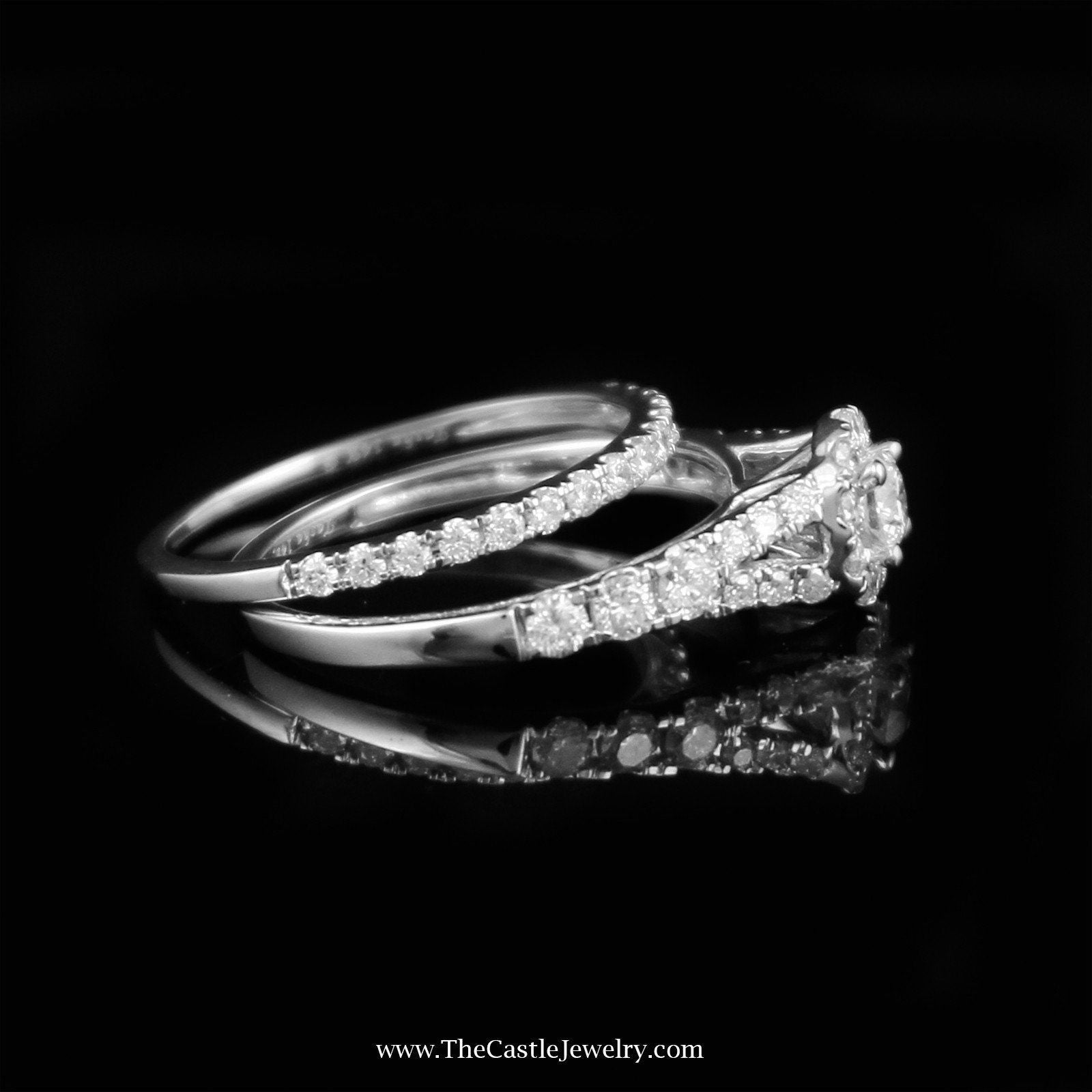 Crown Collection 1cttw Diamond Bridal Set w/ Halo Accent in 14K White Gold-2
