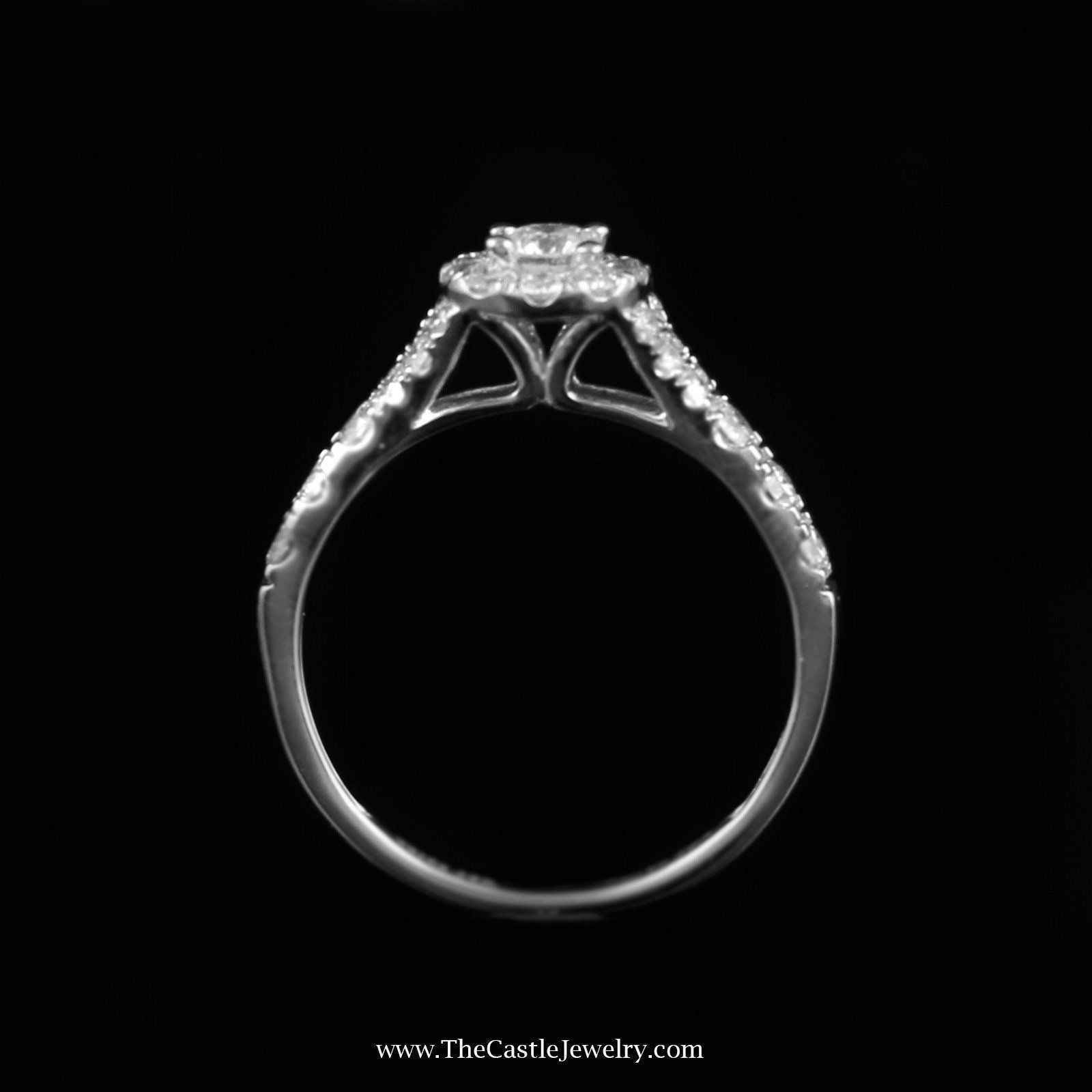 Crown Collection 1cttw Diamond Bridal Set w/ Halo Accent in 14K White Gold-1