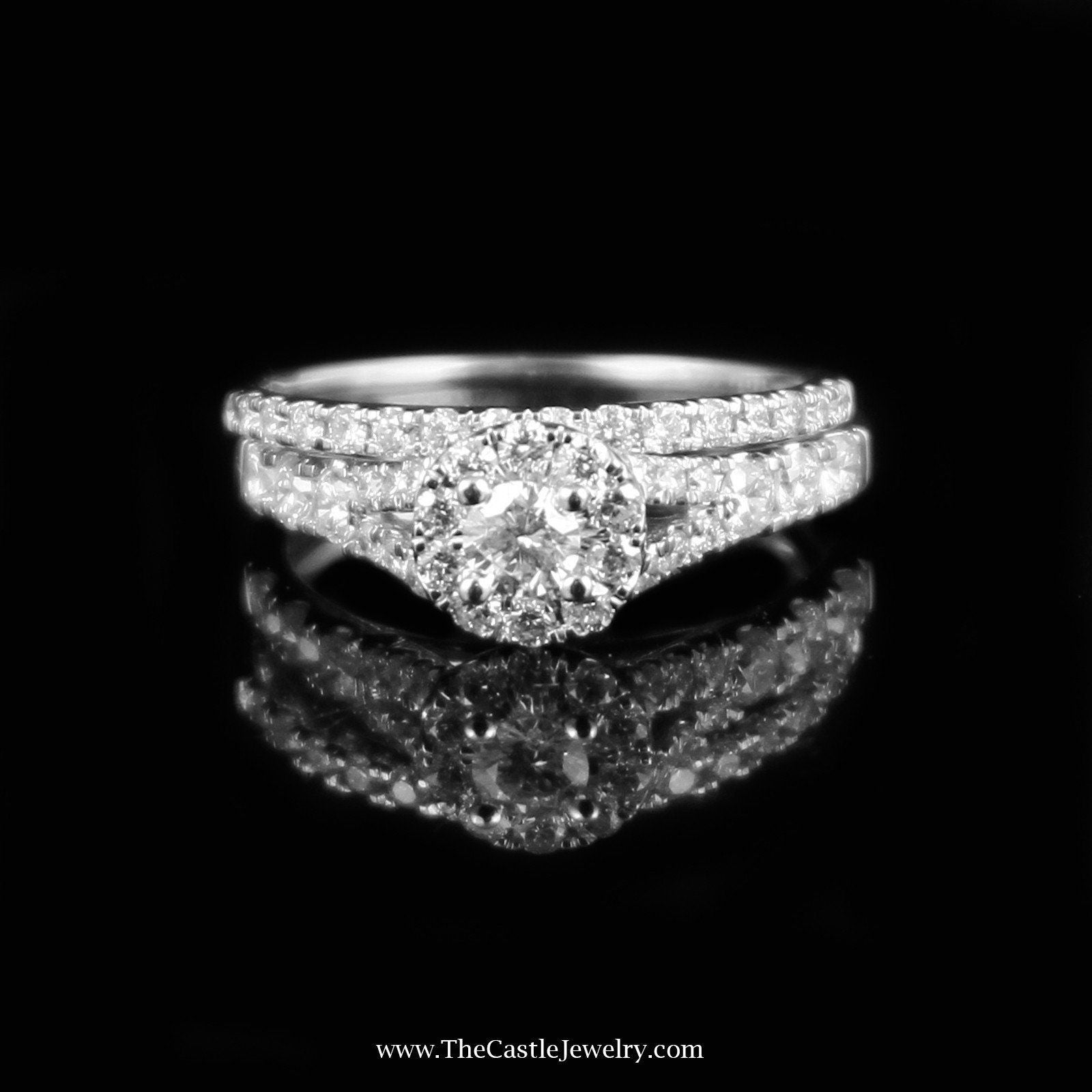Crown Collection 1cttw Diamond Bridal Set w/ Halo Accent in 14K White Gold