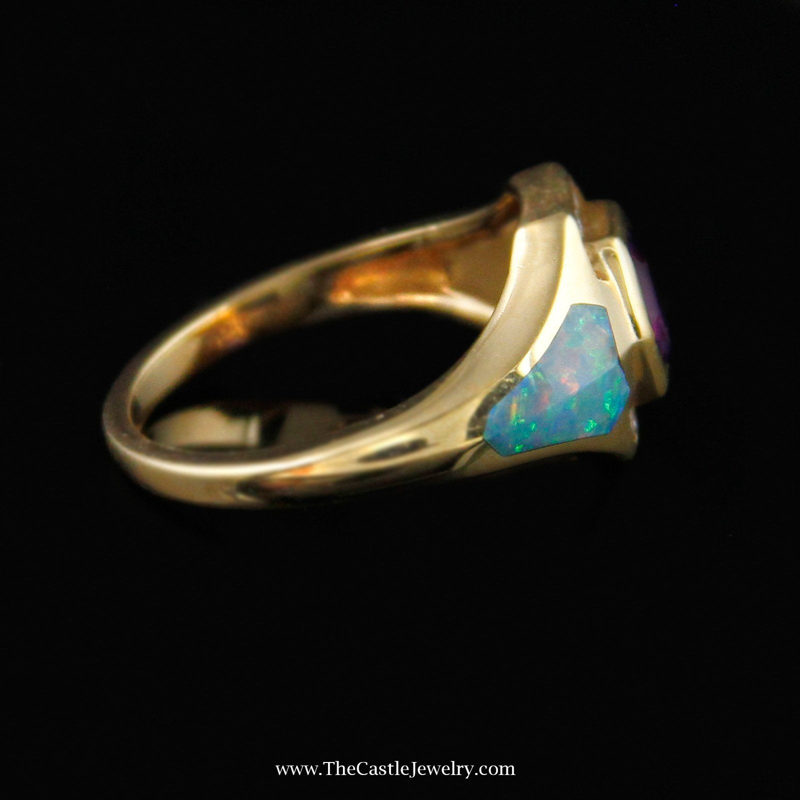 Designer Kabana Ring, Fancy Cut Amethyst & Opal Inlay Accents in 14K Yellow Gold