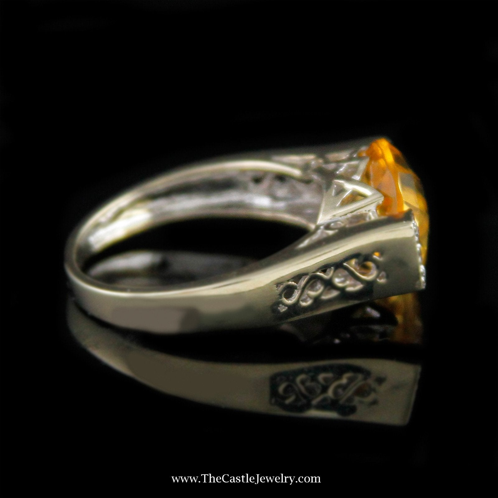 Oval Fantasy Cut Citrine Ring with Round Diamond Sides in 14K White Gold-2