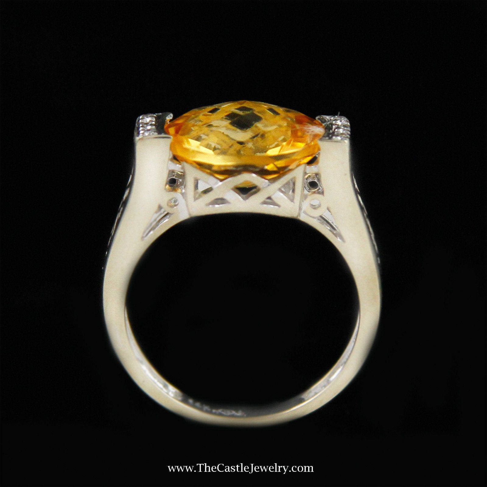 Oval Fantasy Cut Citrine Ring with Round Diamond Sides in 14K White Gold-1